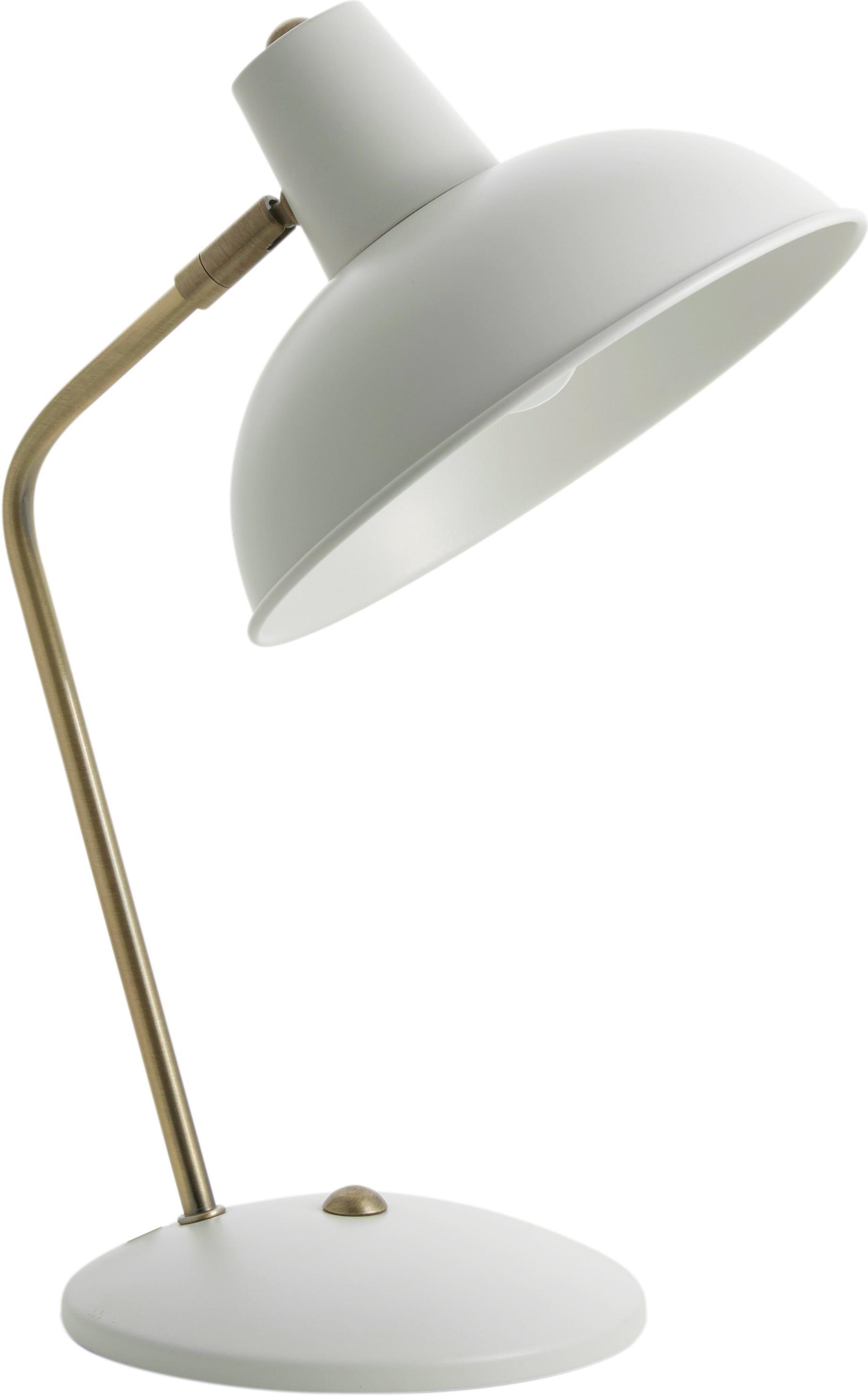 Lámpara de escritorio Hood, estilo retro, Pantalla: metal pintado, Cable: plástico, Blanco, latón, An 20 x Al 38 cm