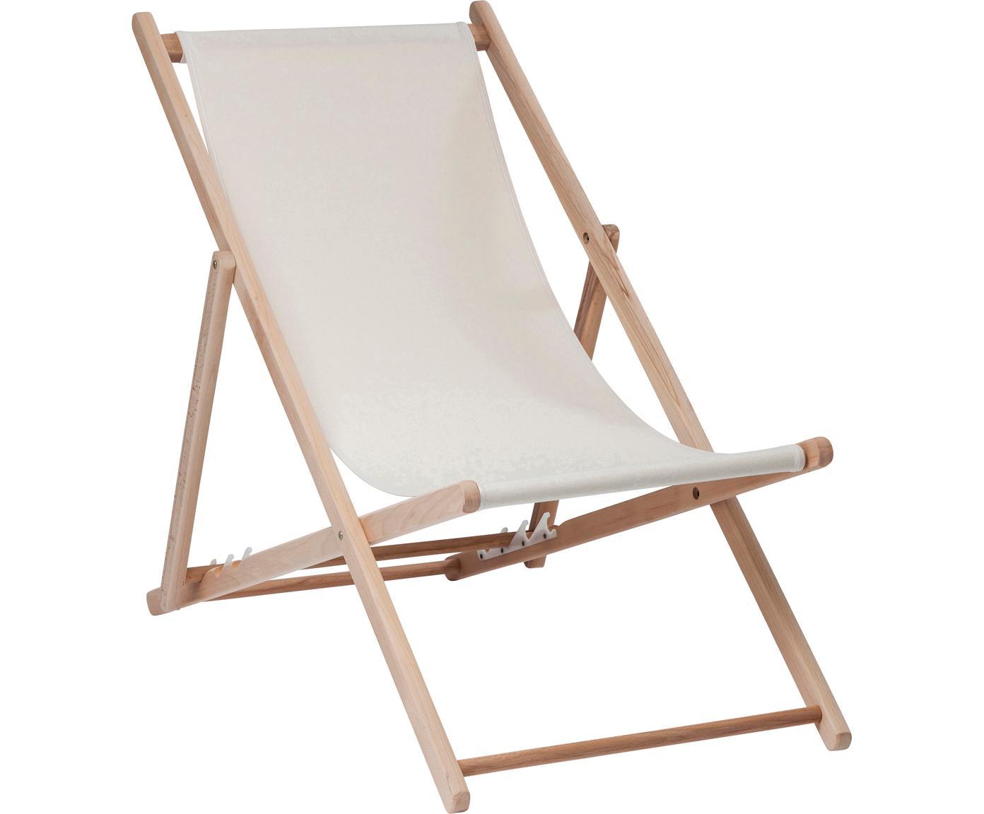 Tumbona plegable Hot Summer, Estructura: madera de haya, Beige, haya, An 96 x F 56 cm