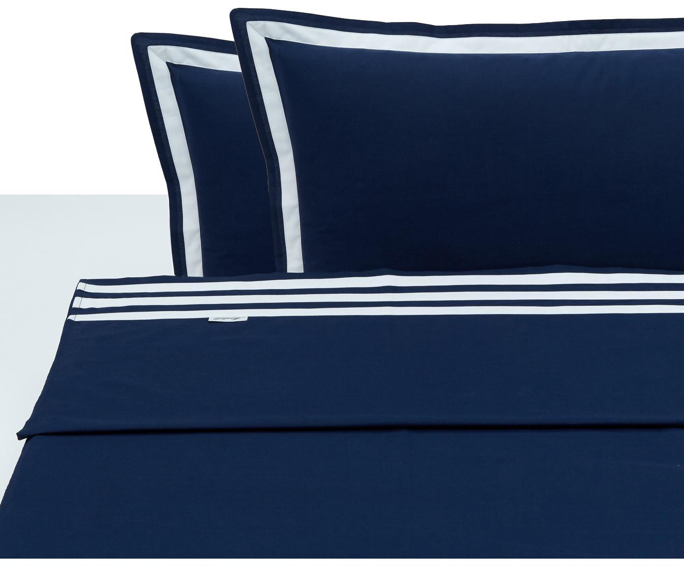 Set lenzuola in cotone Hilton, 4 pz, Cotone, Blu,bianco, 250 x 290 cm