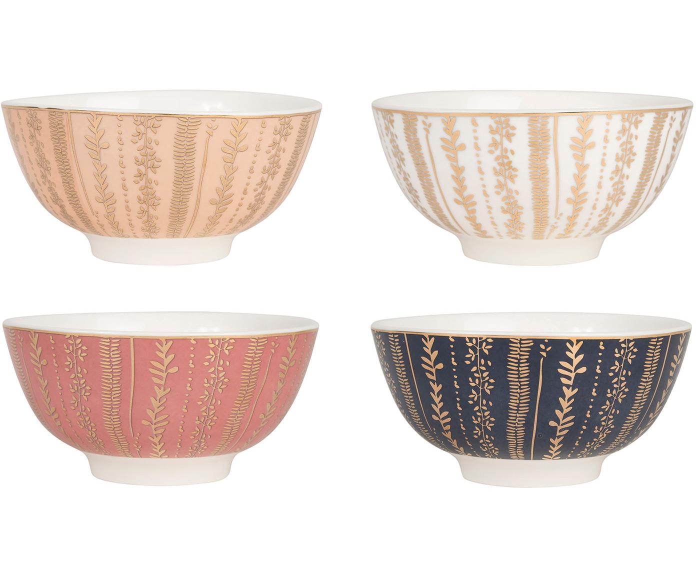 Schälchen Veg-Gold mit Golddetails, 4er-Set, Porzellan, Rosa, Blau, Ø 11 x H 6 cm