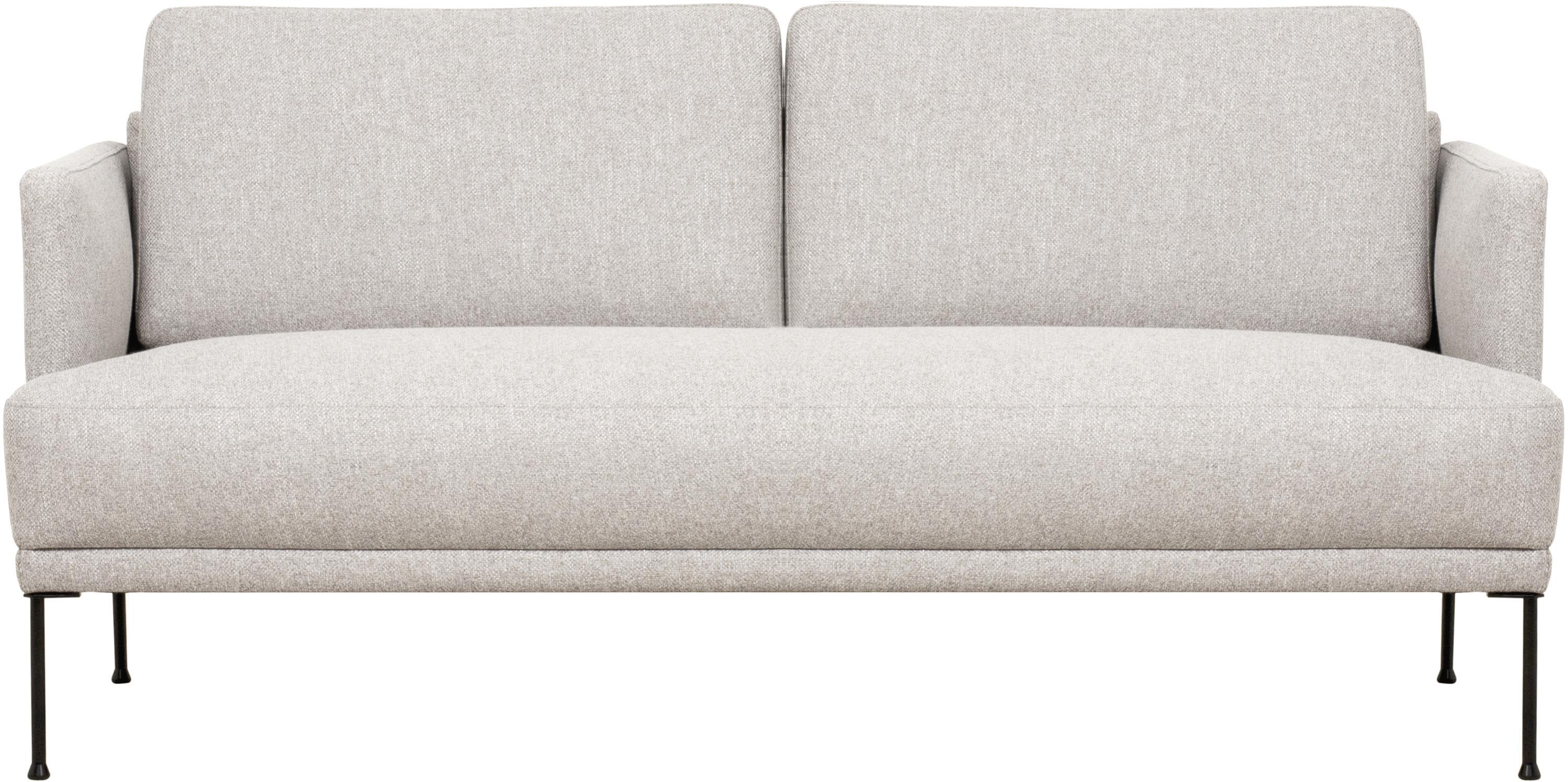 Bank Fluente (2-zits), Bekleding: 80% polyester, 20% ramie, Frame: massief grenenhout, Poten: gepoedercoat metaal, Geweven stof beige, B 166 x D 85 cm