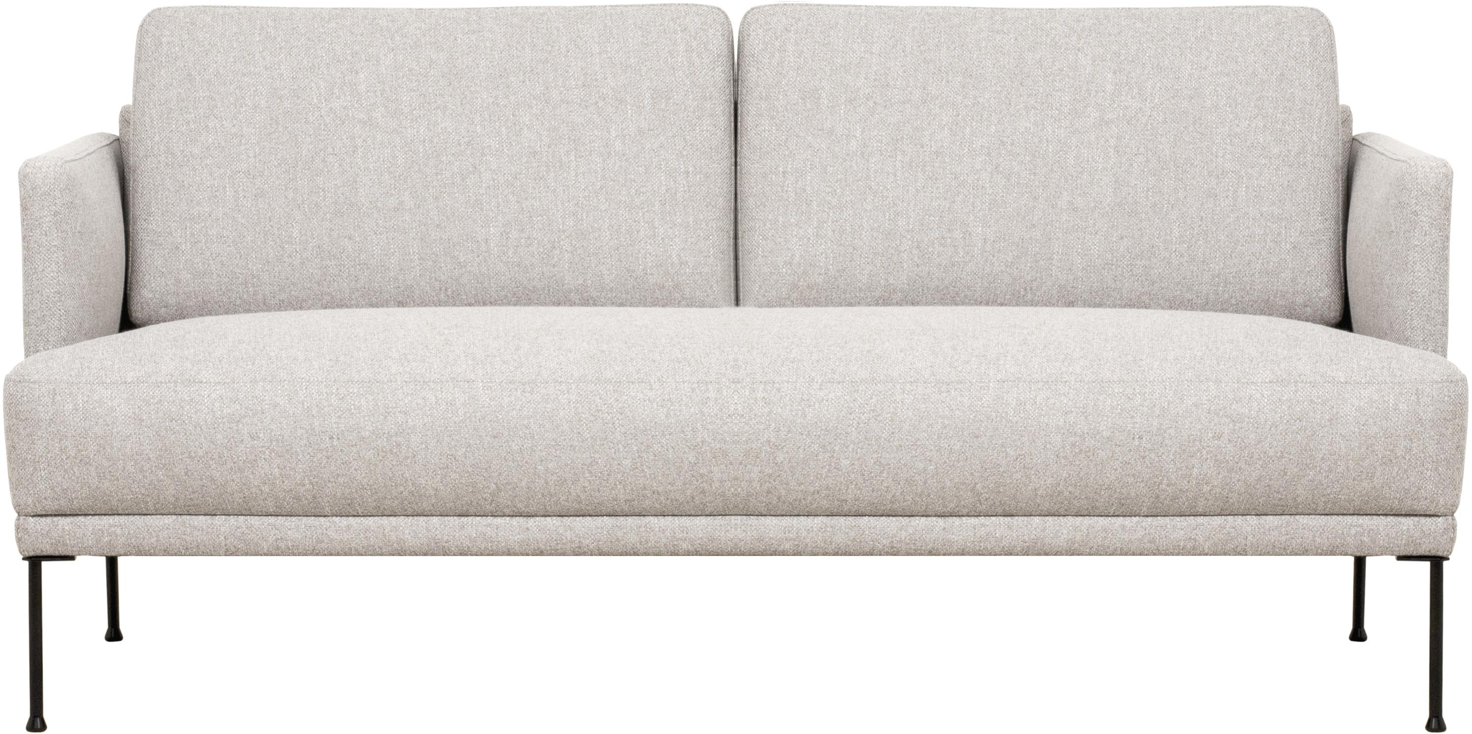 Sofa Fluente (2-Sitzer), Bezug: 80% Polyester, 20% Ramie , Gestell: Massives Kiefernholz, Webstoff Beige, B 166 x T 85 cm