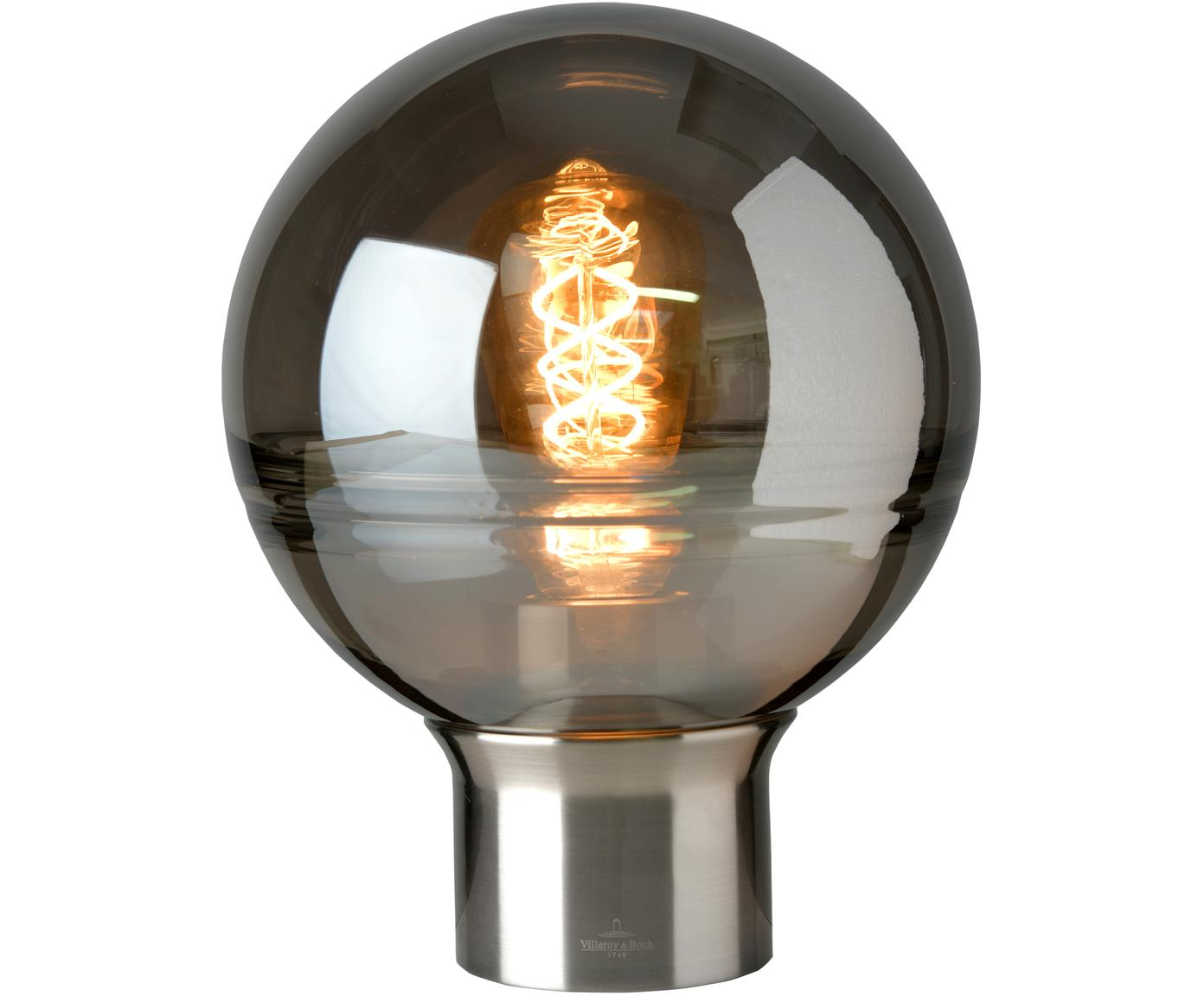 Lampada da tavolo in vetro Tokio, Paralume: vetro specchiato, Base della lampada: metallo satinato, Grigio, metallo, Ø 20 x Alt. 24 cm