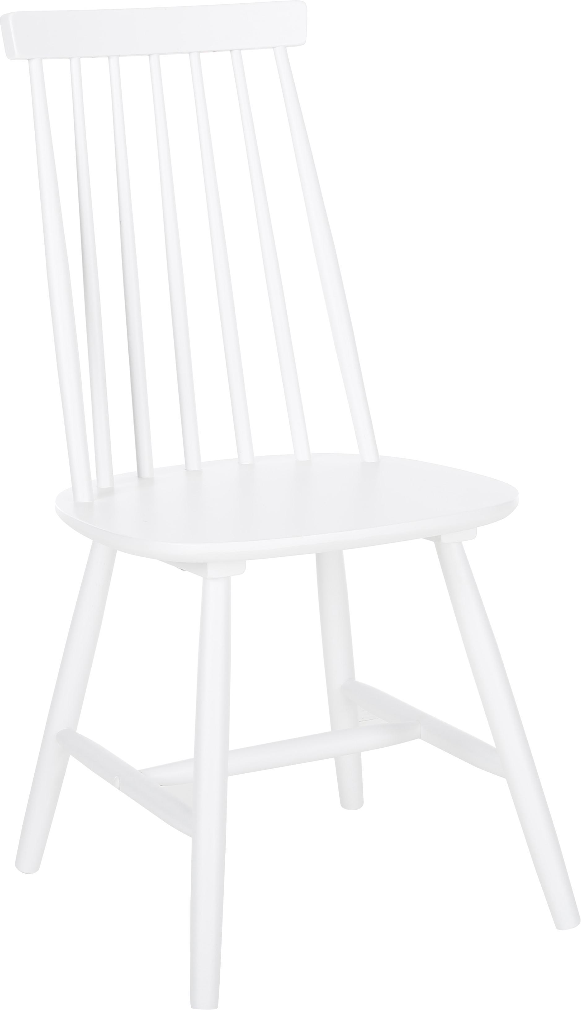 Krzesło z drewna Milas, 2 szt., Kauczukowiec brazylijski, lakierowany, Biały, S 52 x G 45 cm