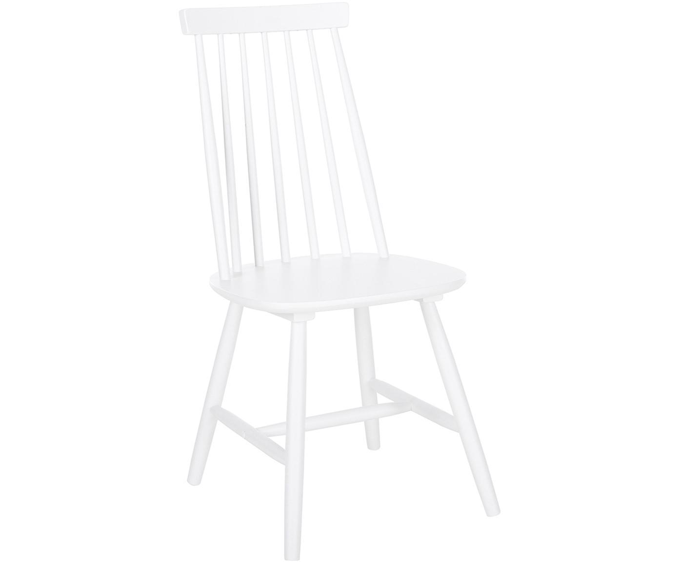 Holzstühle Milas, 2 Stück, Kautschuckholz, lackiert, Weiß, 52 x 93 cm