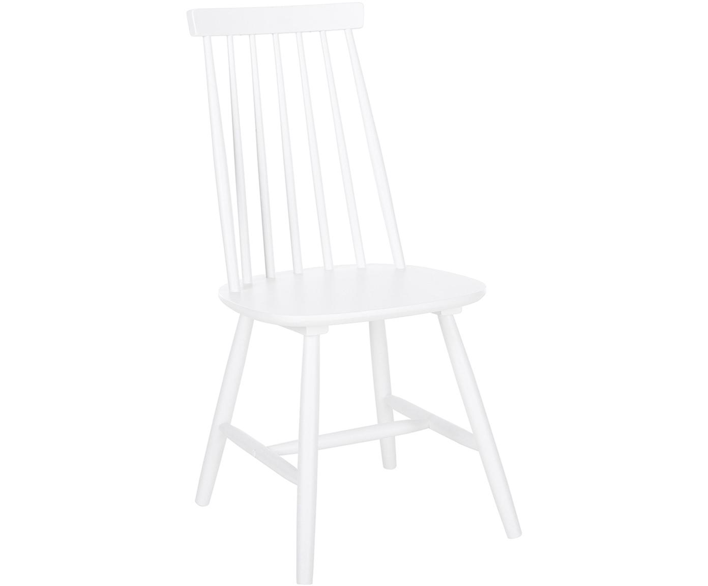 Sedia in legno Milas, 2 pz., Legno di caucciù verniciato, Bianco, Larg. 52 x Prof. 45 cm