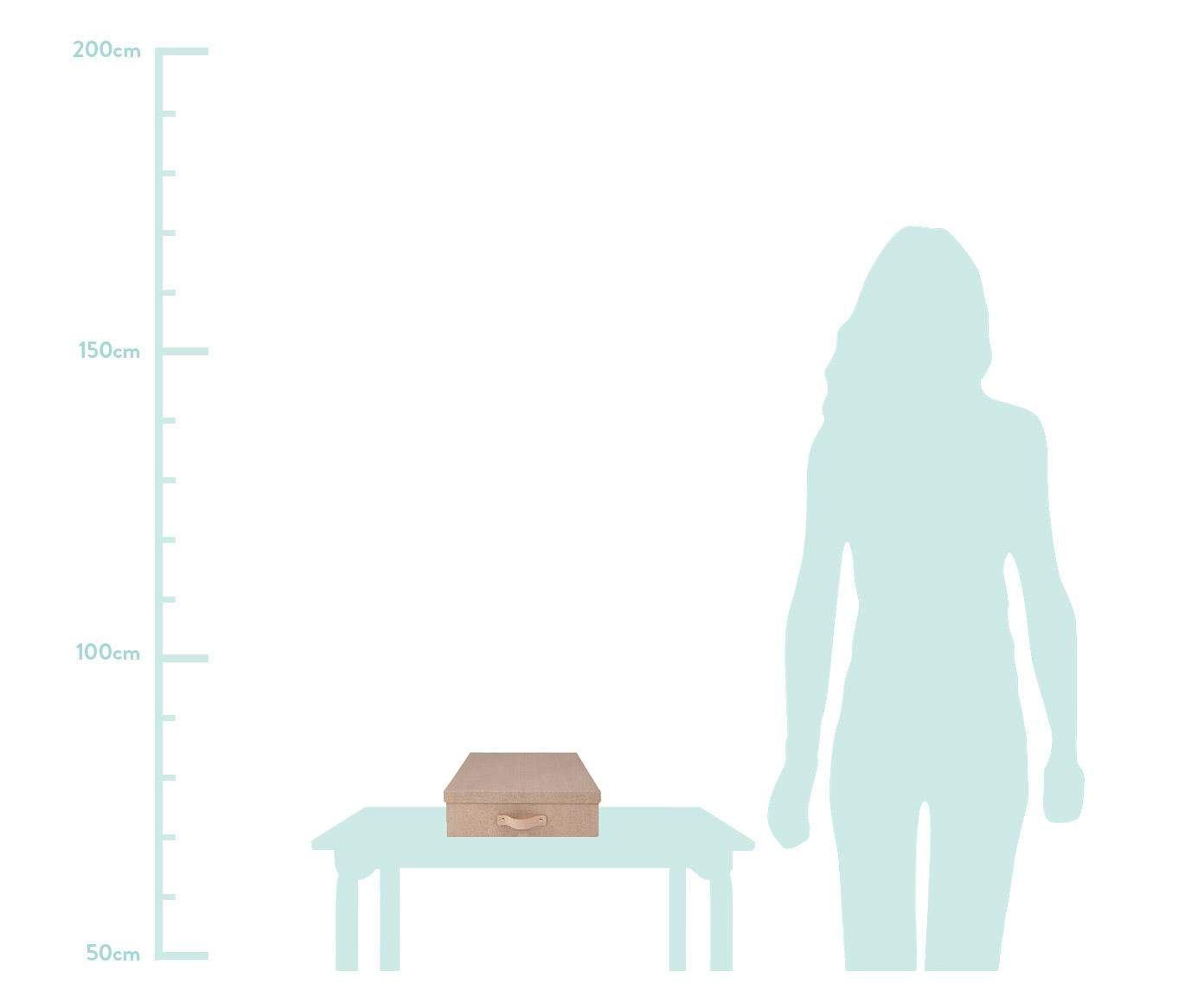Aufbewahrungsbox Oskar II, Organizer: Fester Karton, mit Holzde, Griff: Leder, Organizer aussen: BeigeOrganizer innen: SchwarzGriff: Beige, 26 x 9 cm