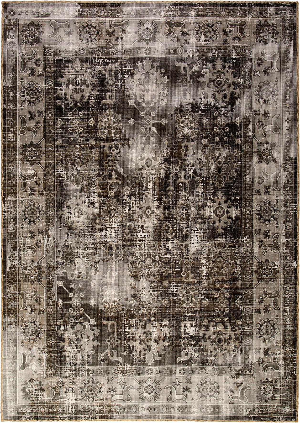 Tappeto vintage da interno-esterno Tilas Antalya, Tonalità grigie, nero, Larg. 80 x Lung. 150 cm (taglia XS)