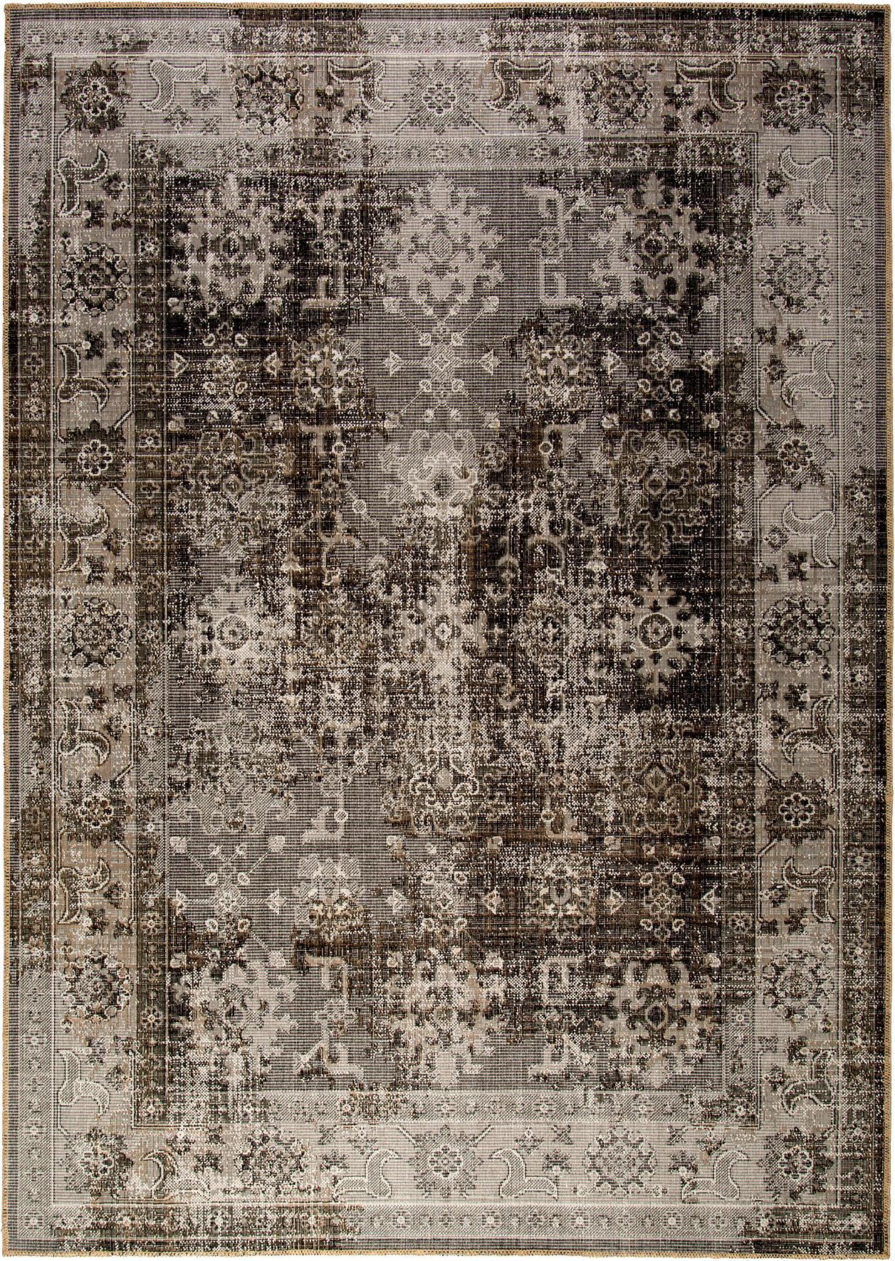 Vintage in- en outdoor vloerkleed Tilas Antalya in grijs-taupe, Grijstinten, taupe, B 80 x L 150 cm (maat XS)