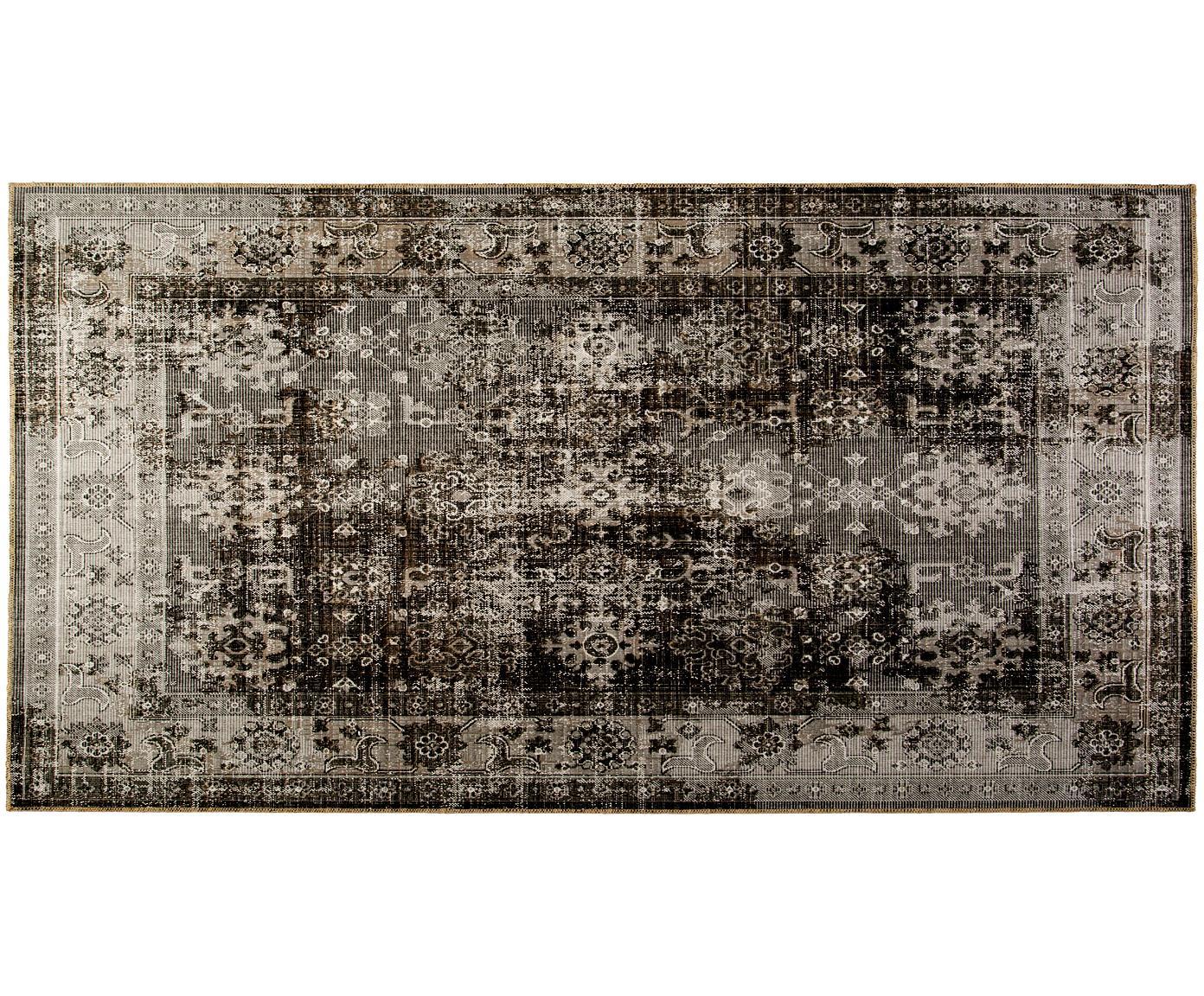 Alfombra de interior/exterior Tilas Antalya, estilo vintage, Tonos grises, negro, An 80 x L 150 cm (Tamaño XS)
