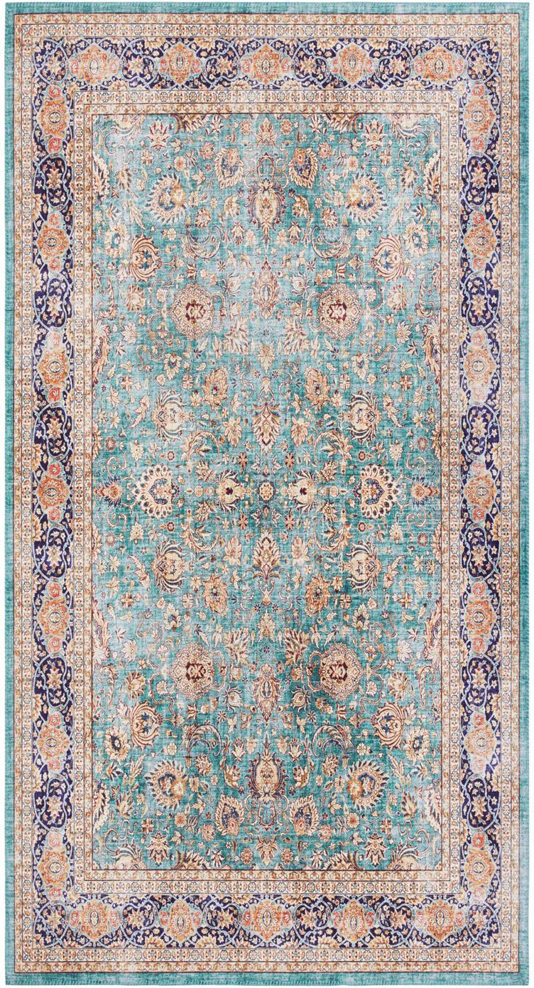Vintage vloerkleed Keshan Maschad, Polysulfonen (PES), Jadegroen, multicolour, B 80 x L 150 cm (maat XS)