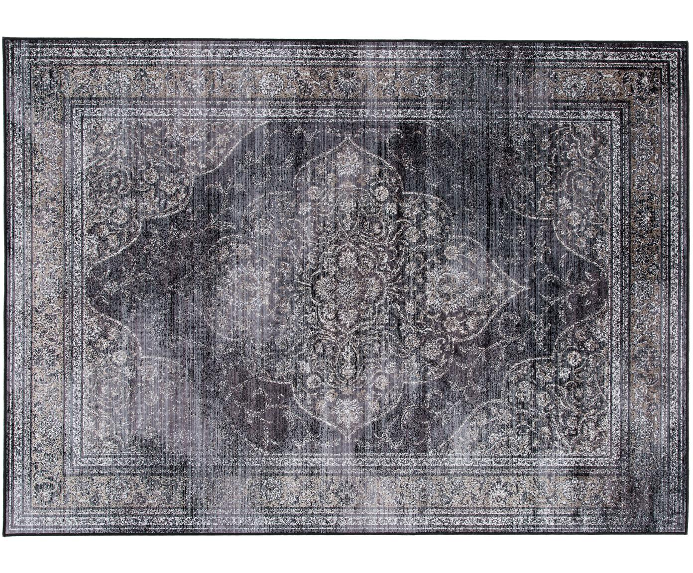 Vintage vloerkleed Rugged in antraciet, Antraciet, 170 x 240 cm