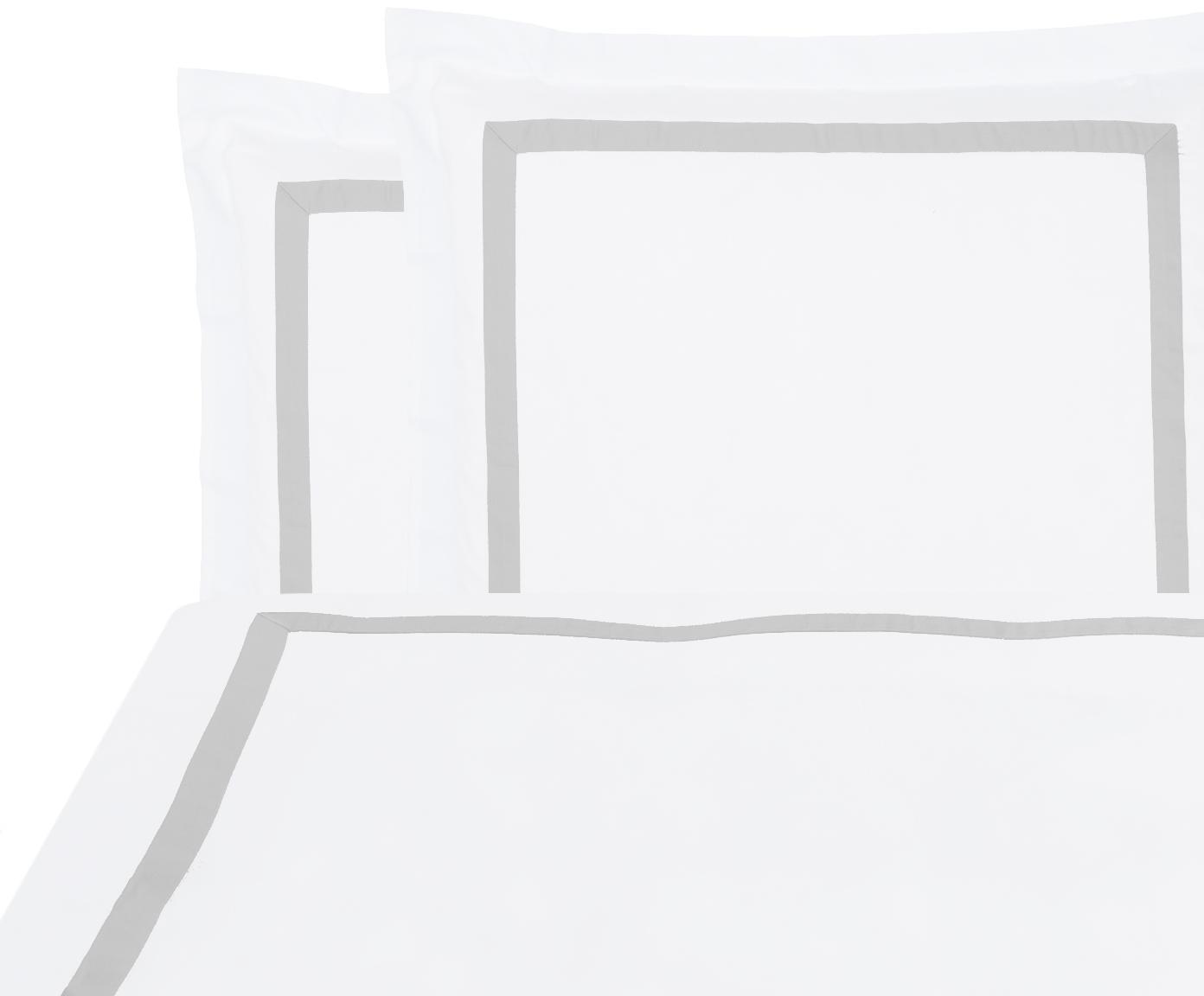 Baumwollsatin-Bettwäsche Nora in Weiß/Hellgrau, Webart: Satin Fadendichte 400 TC,, Weiß, Hellgrau, 200 x 200 cm + 2 Kissen 80 x 80 cm