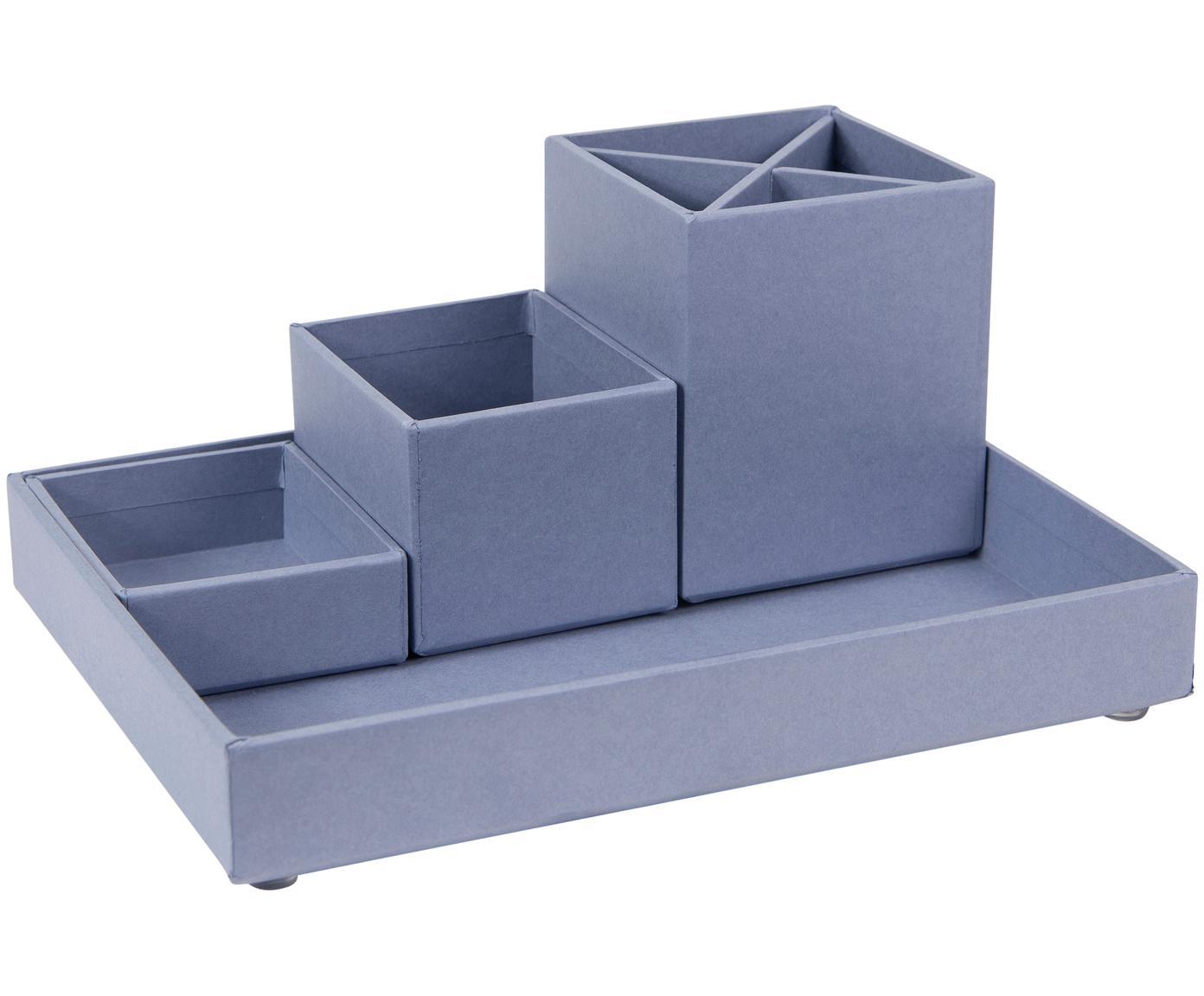 Set organizer da ufficio Lena 4 pz, Solido, cartone laminato, Grigio-blu, Diverse dimensioni