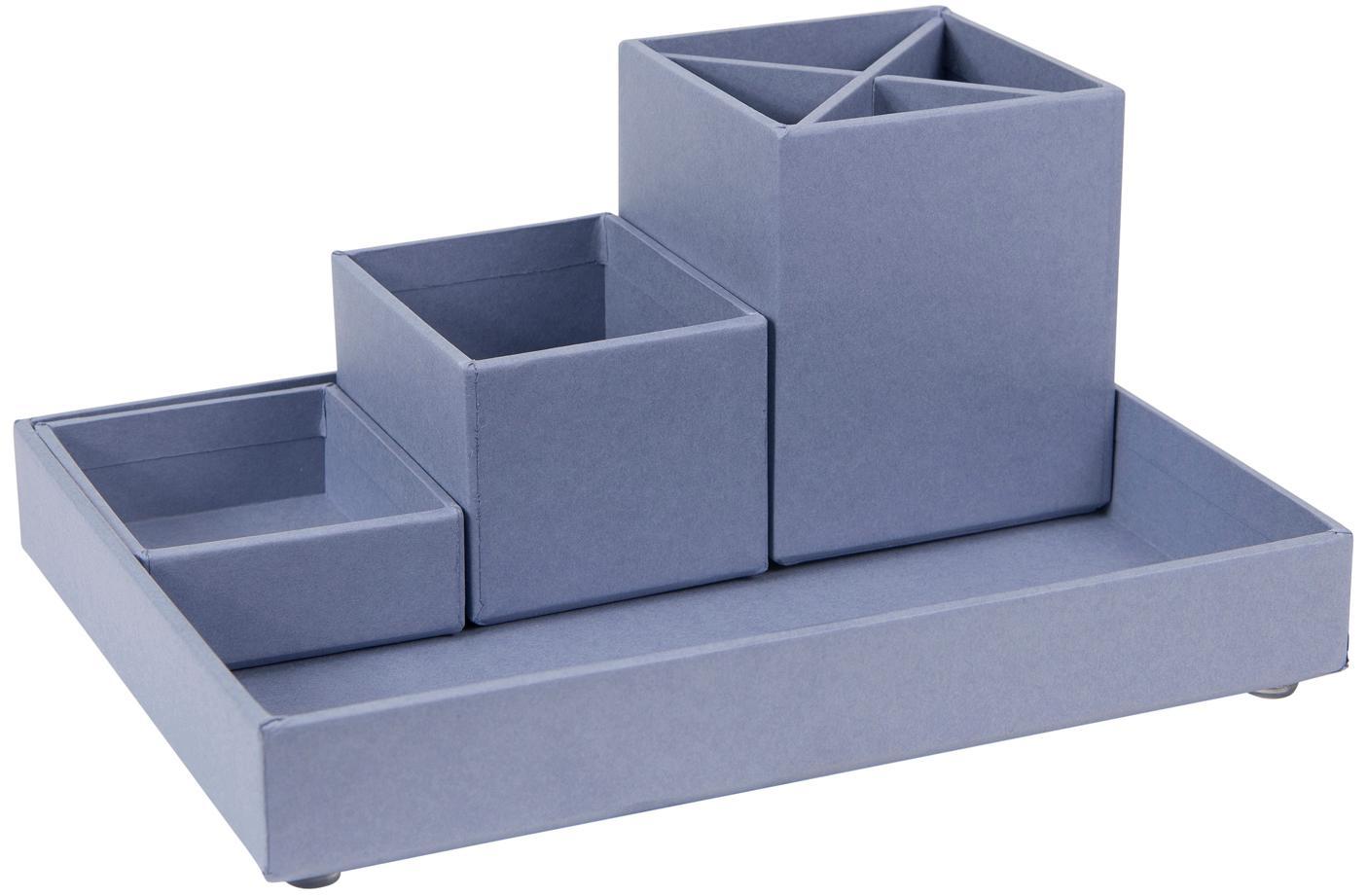 Büro-Organizer-Set Lena, 4-tlg., fester, laminierter Karton, Taubenblau, Set mit verschiedenen Grössen