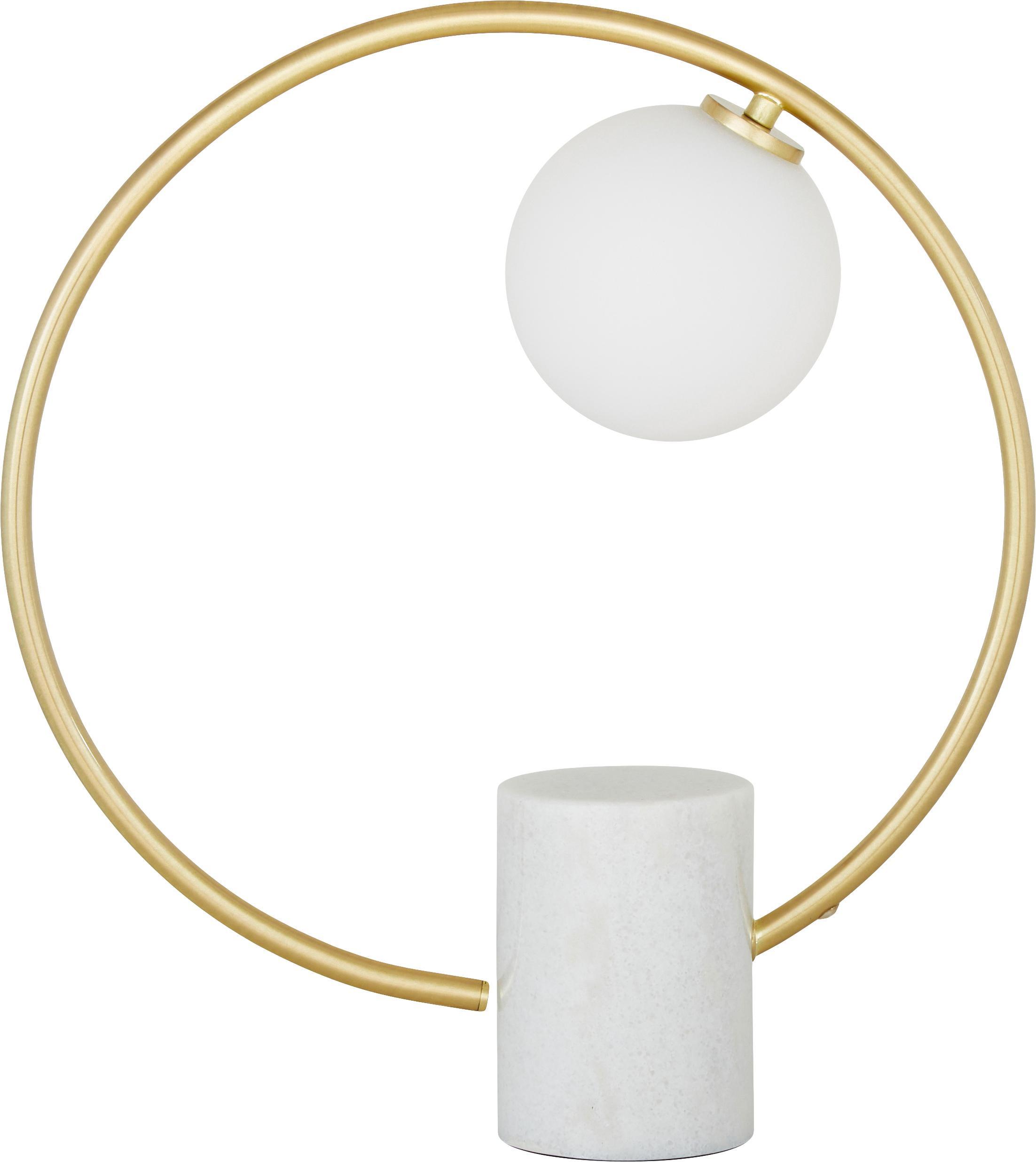 Lampada da tavolo Soho, Paralume: vetro, Base della lampada: marmo, possibili variazio, Struttura: metallo ottonato, Bianco ottonato, Larg. 40 x Alt. 42 cm