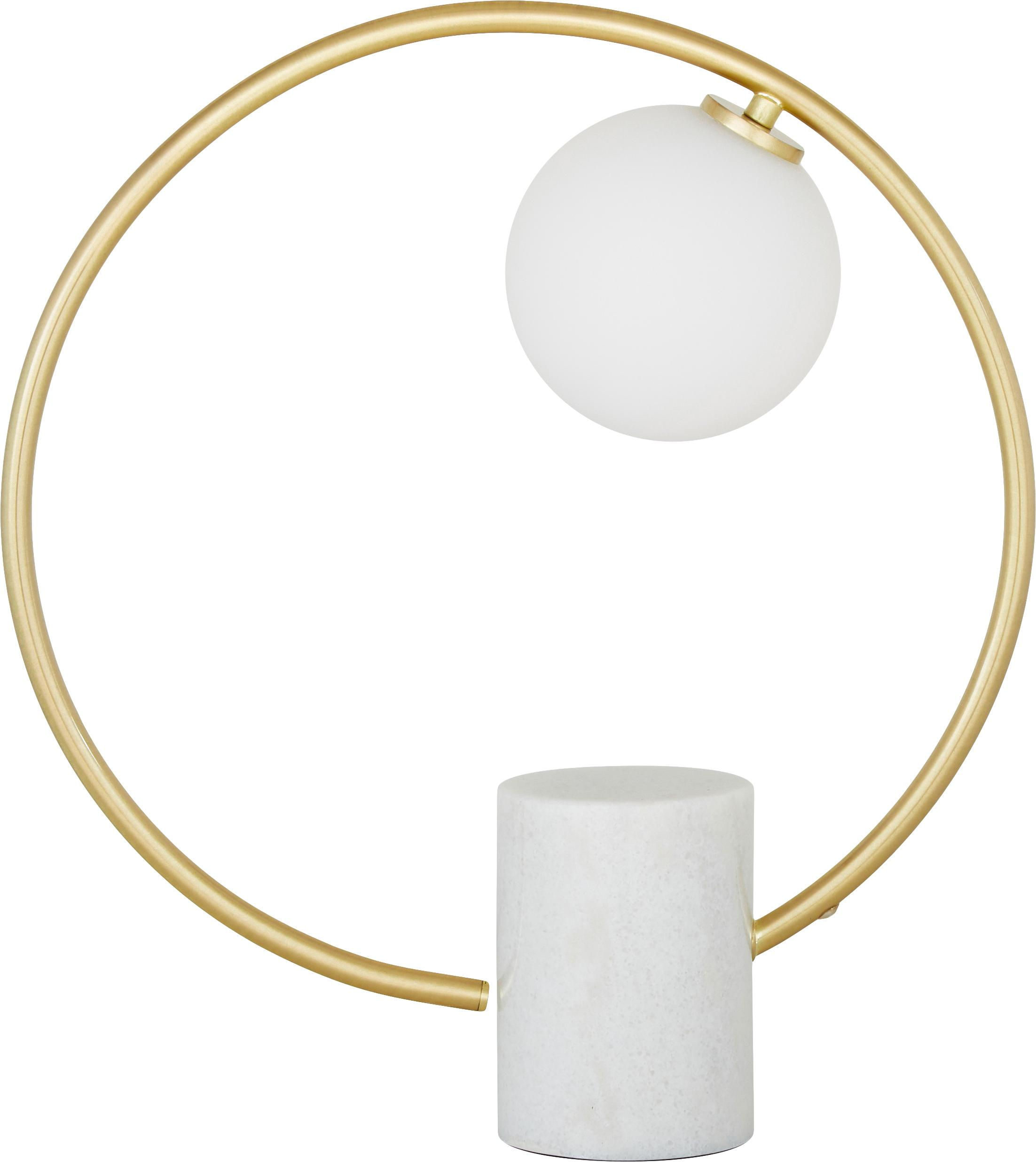 Tafellamp Soho, Lampenkap: glas, Lampvoet: marmer, afwijkingen van f, Frame: vermessingd metaal, Wit, messingkleurig, 40 x 42 cm