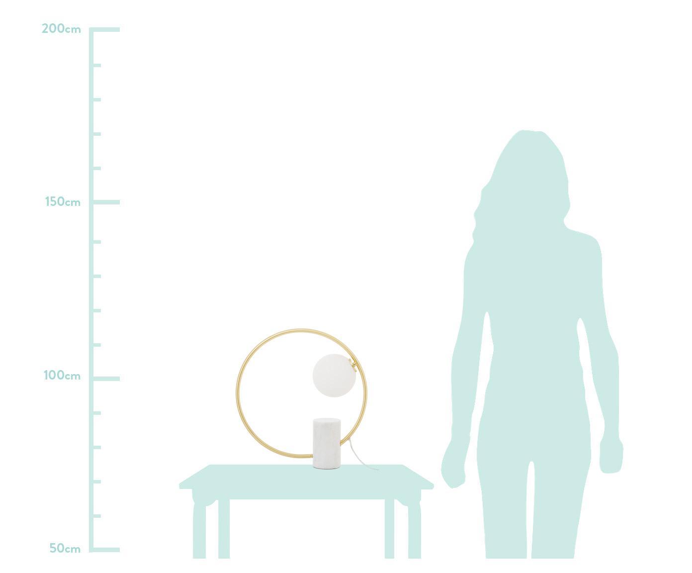 Lámpara de mesa Soho, estilo glam, Pantalla: vidrio, Cable: plástico, Blanco, latón, An 40 x Al 42 cm