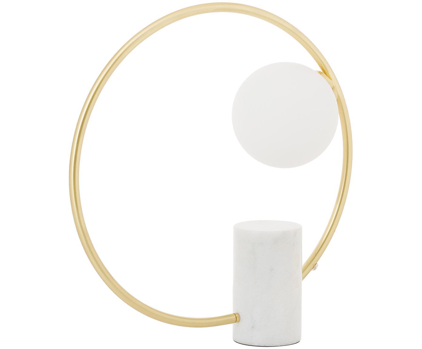 Glam-Tischleuchte Soho mit Marmorfuß, Lampenschirm: Glas, Lampenfuß: Marmor, Abweichungen vom , Rahmen: Metall, vermessingt, Weiß, Messing, 40 x 42 cm