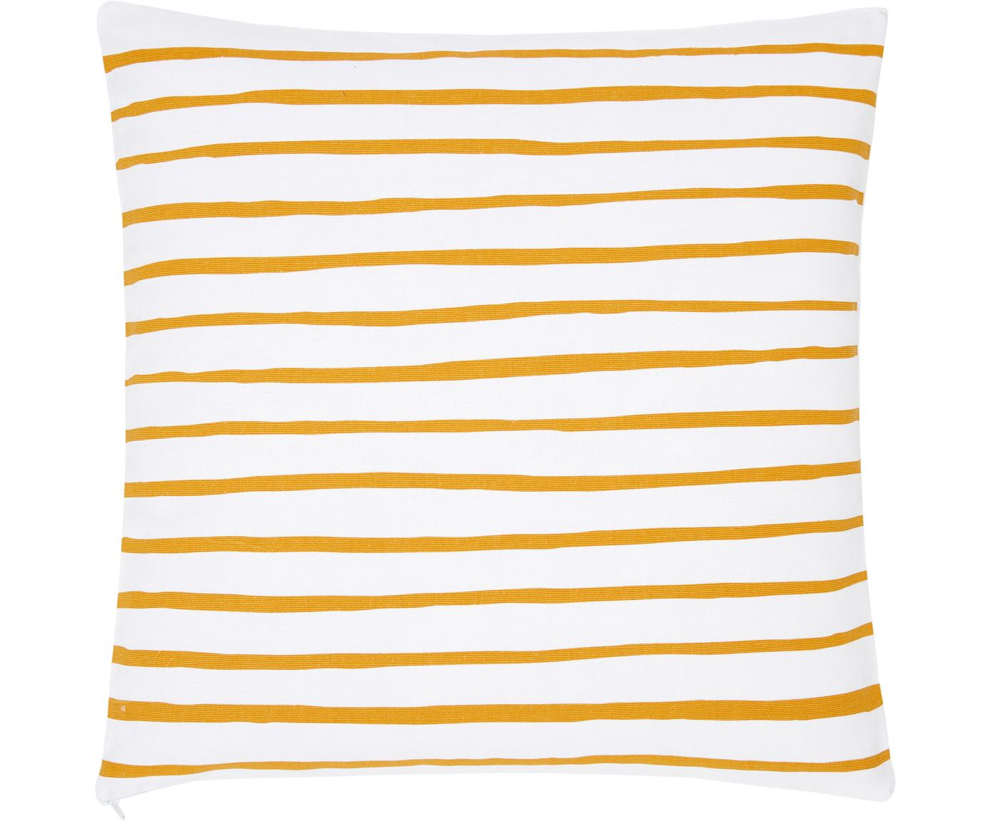 Gestreifte Kissenhülle Ola, 100% Baumwolle, Gelb-Orange, Weiss, 40 x 40 cm