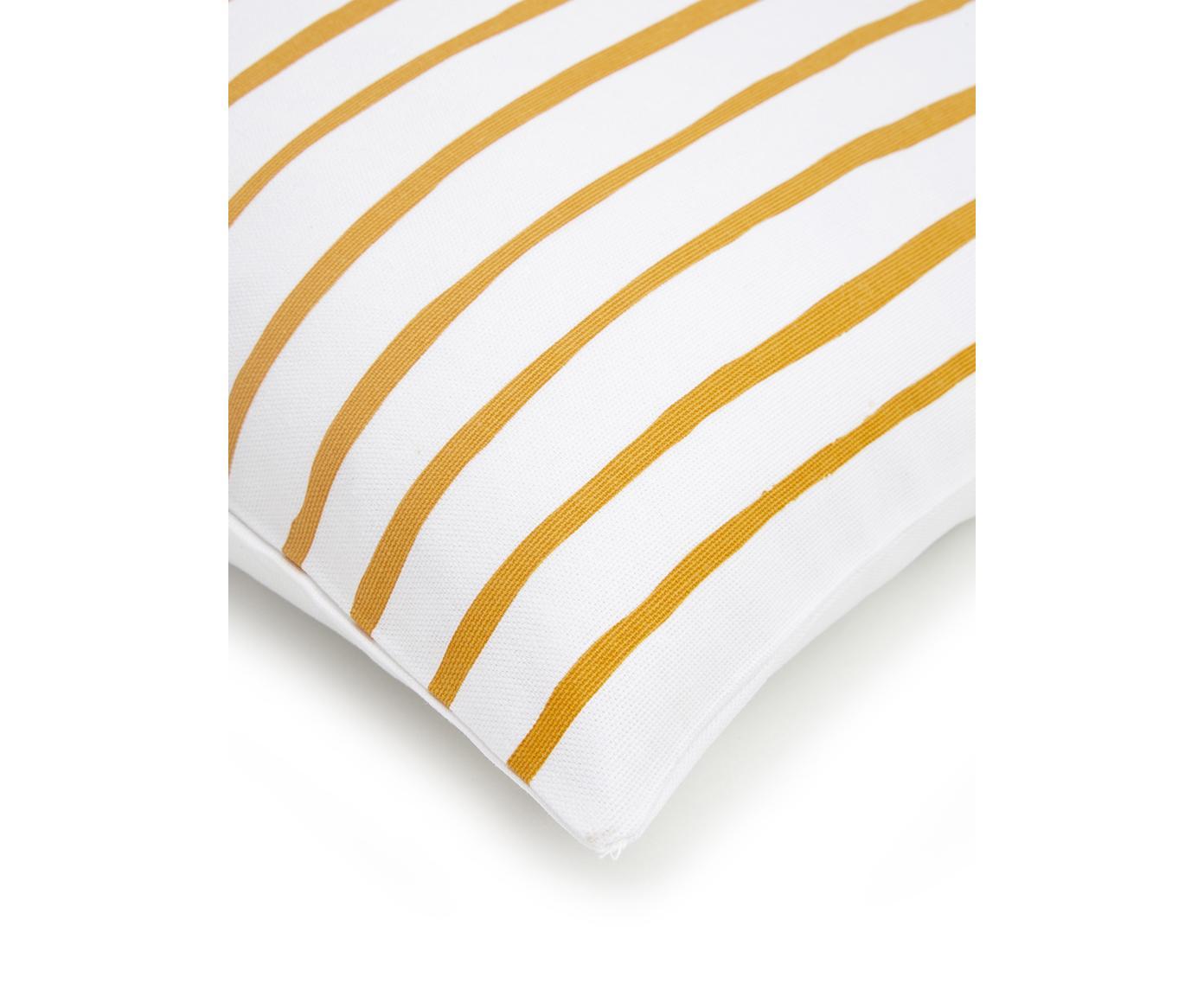 Gestreifte Kissenhülle Ola, 100% Baumwolle, Gelb-Orange, Weiß, 40 x 40 cm