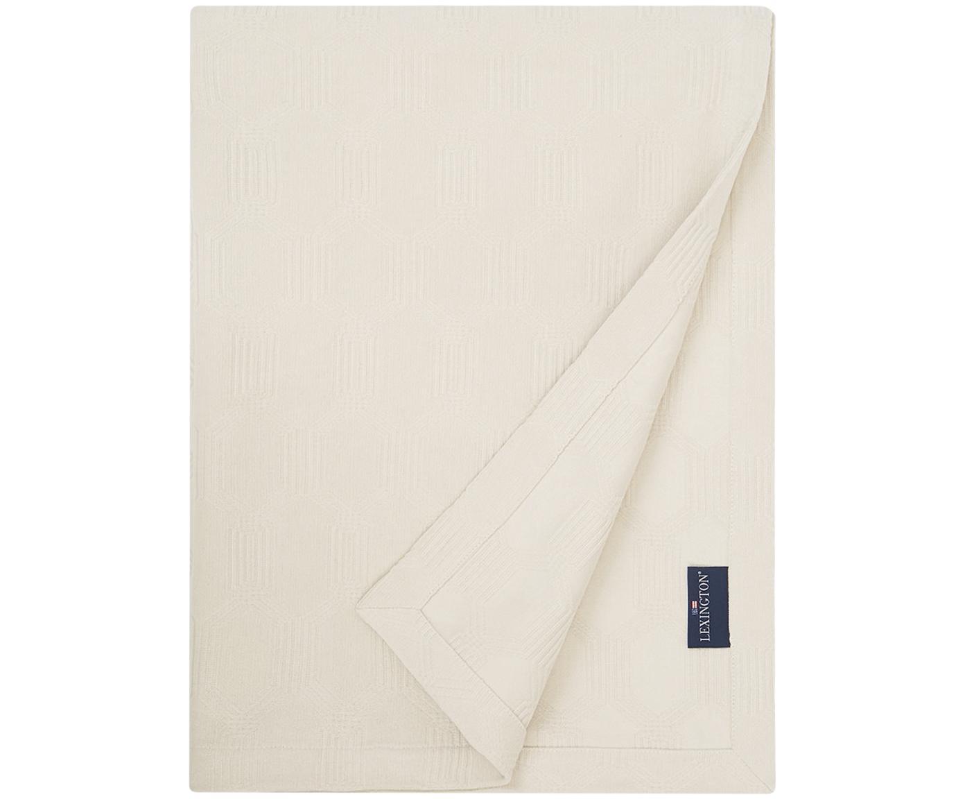 Samt-Tagesdecke Jacky in Offwhite, Webart: Jacquard, Gebrochenes Weiss, 160 x 240 cm