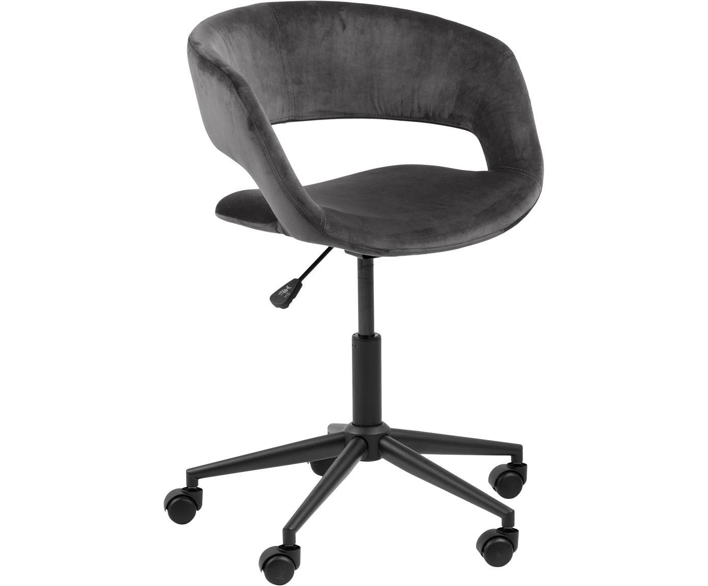 Biurowe krzesło obrotowe z aksamitu Grace, Tapicerka: poliester 25000 cykli w , Stelaż: metal malowany proszkowo, Aksamit ciemny szary, S 56 x G 54 cm