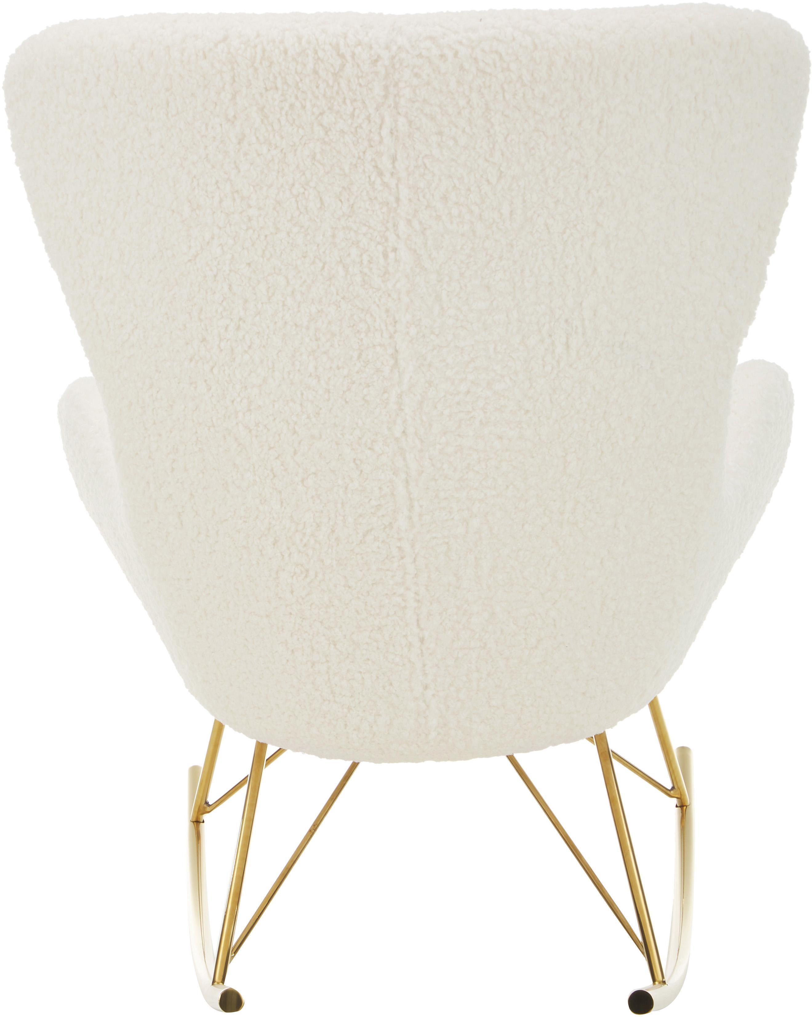 Teddy-Schaukelstuhl Wing, Bezug: Polyester (Teddyfell) Der, Gestell: Metall, galvanisiert, Webstoff Cremeweiss, B 66 x T 102 cm
