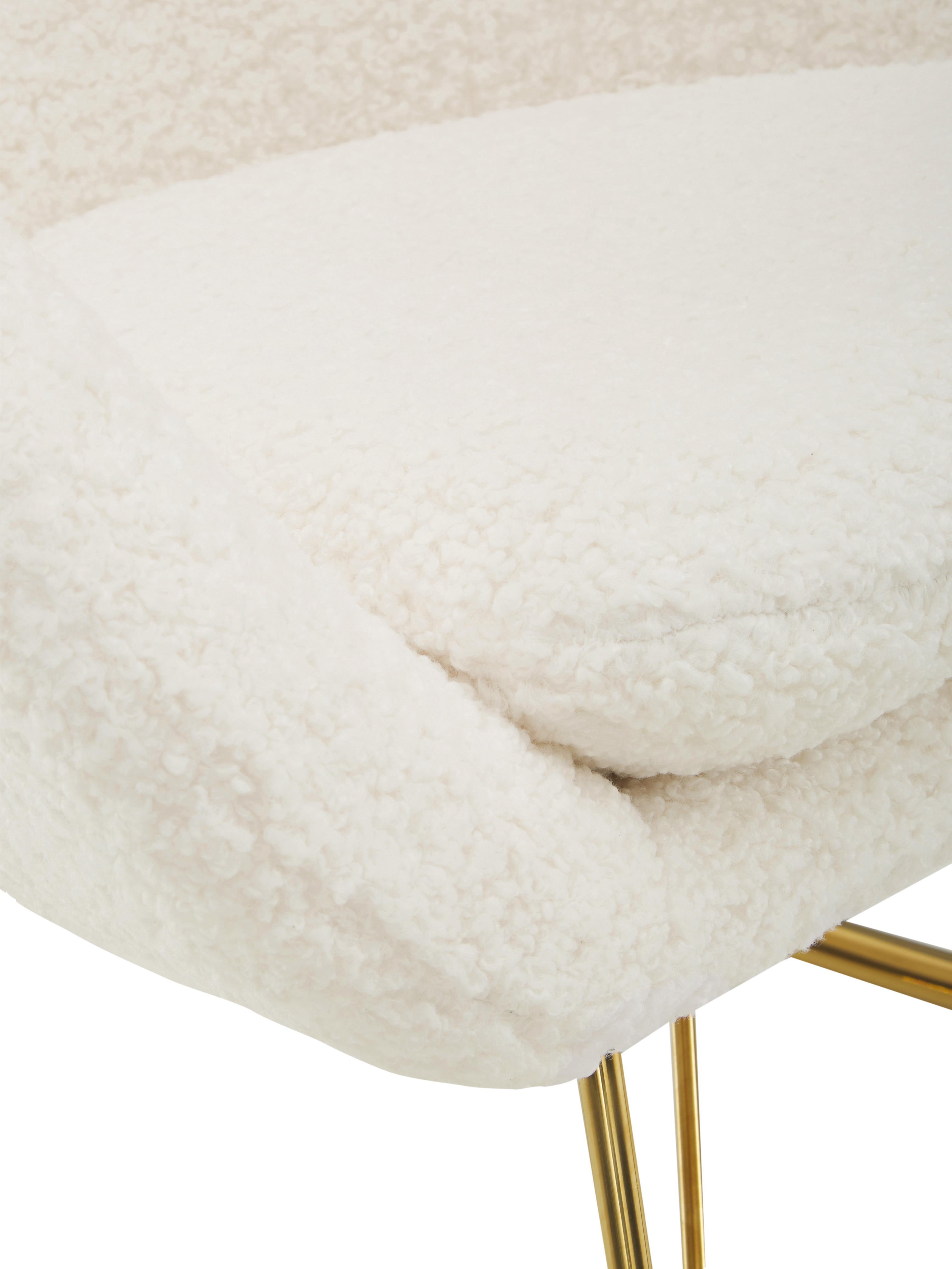 Sedia a dondolo in tessuto teddy Wing, Rivestimento: poliestere (teddy), Struttura: metallo zincato, Tessuto bianco crema, Larg. 77 x Prof. 96 cm