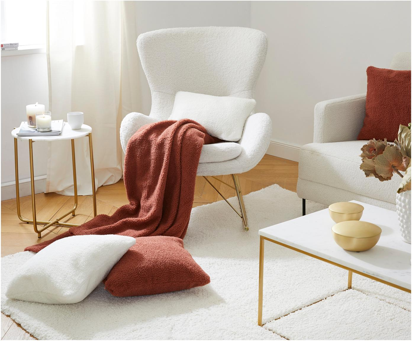 Teddy schommelstoel Wing, Bekleding: polyester (teddy), Frame: gegalvaniseerd metaal, Crèmewit, B 77 x D 96 cm