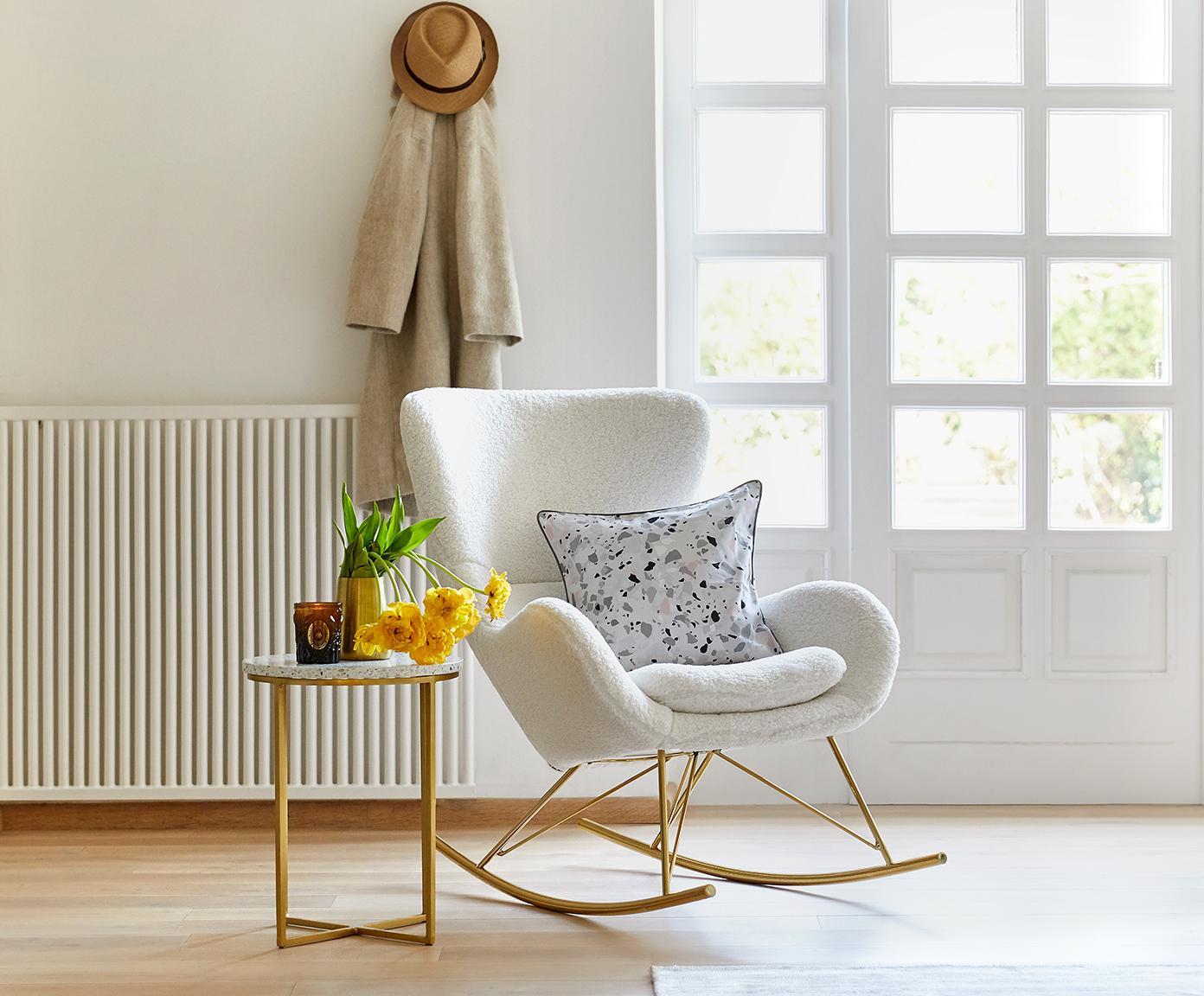 Mecedora de borreguilloWing, Tapizado: poliéster (borreguillo), Estructura: metal brillante, Tejido blanco crema, An 77 x F 96 cm