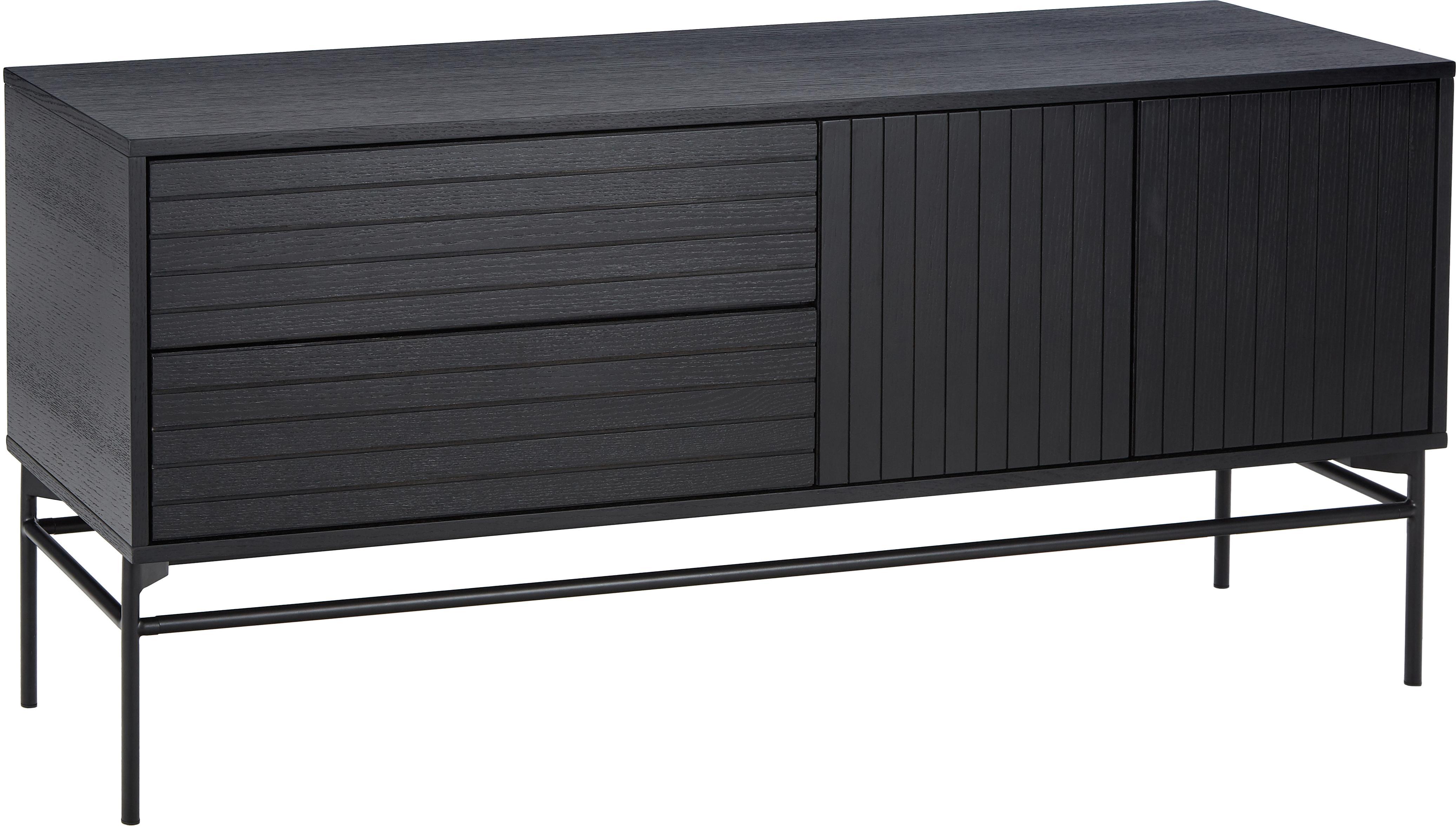 Modernes Sideboard Johan, Korpus: Mitteldichte Holzfaserpla, Füße: Metall, pulverbeschichtet, Korpus: Eichenholzfurnier, schwarz lackiertFüße: Schwarz, matt, 160 x 75 cm