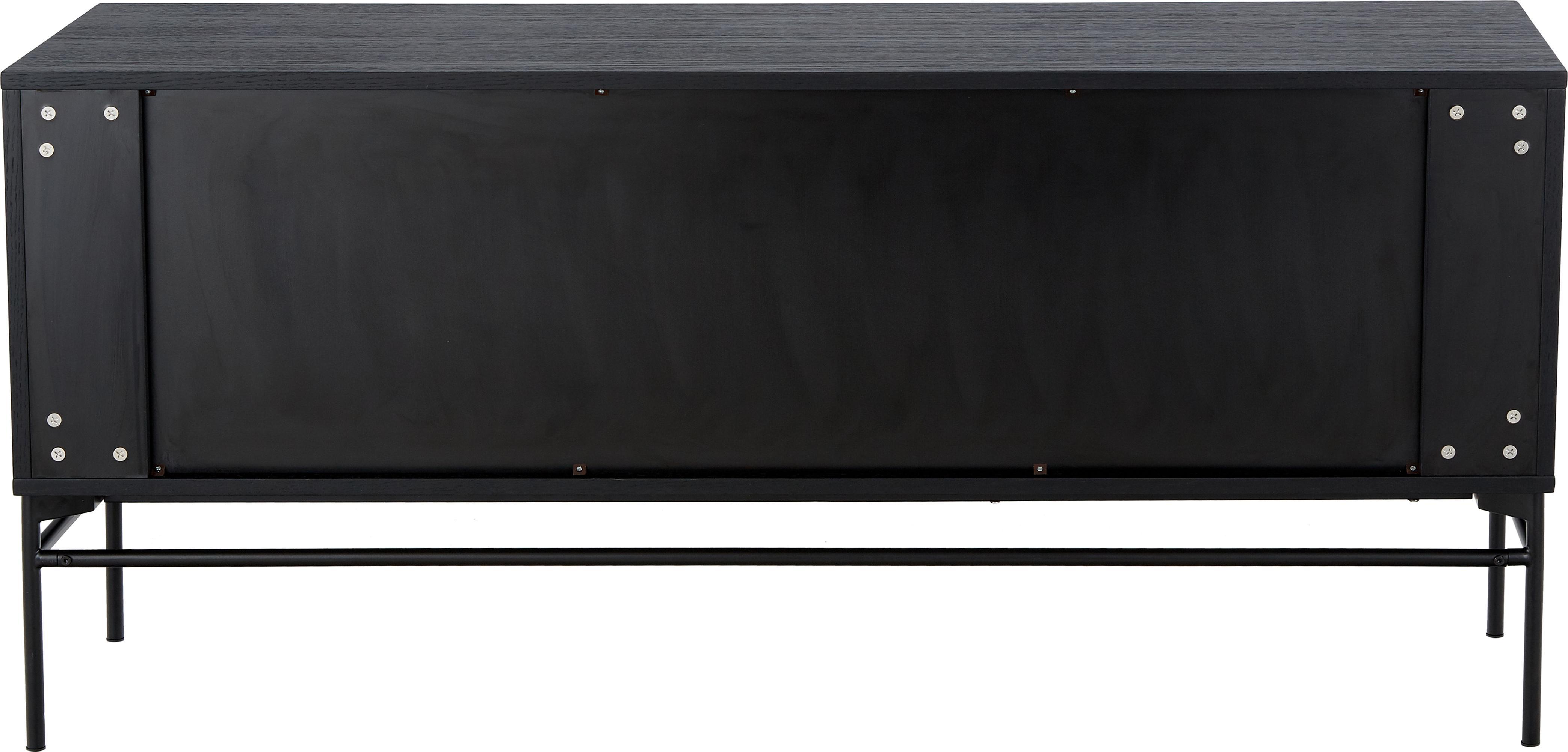 Credenza moderna Johan, Piedini: metallo verniciato a polv, Corpo: impiallacciato rovere, nero verniciato Piedini: nero opaco, Larg. 160 x Alt. 75 cm