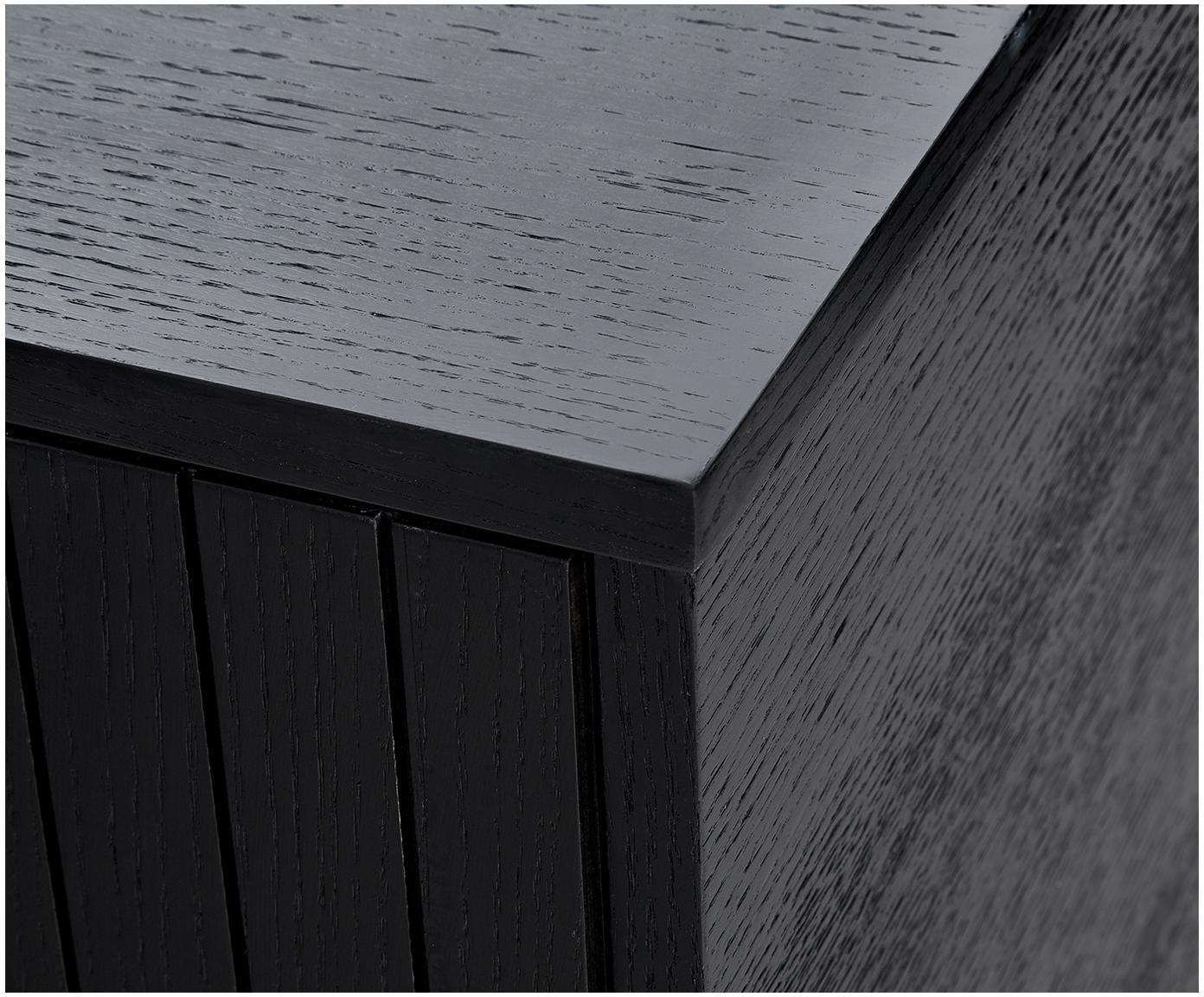 Komoda  modern Johan, Korpus: płyta pilśniowa średniej , Nogi: metal malowany proszkowo, Korpus: fornir z drewna dębowego, czarny lakierowany Nogi: czarny, matowy, S 160 x W 75 cm