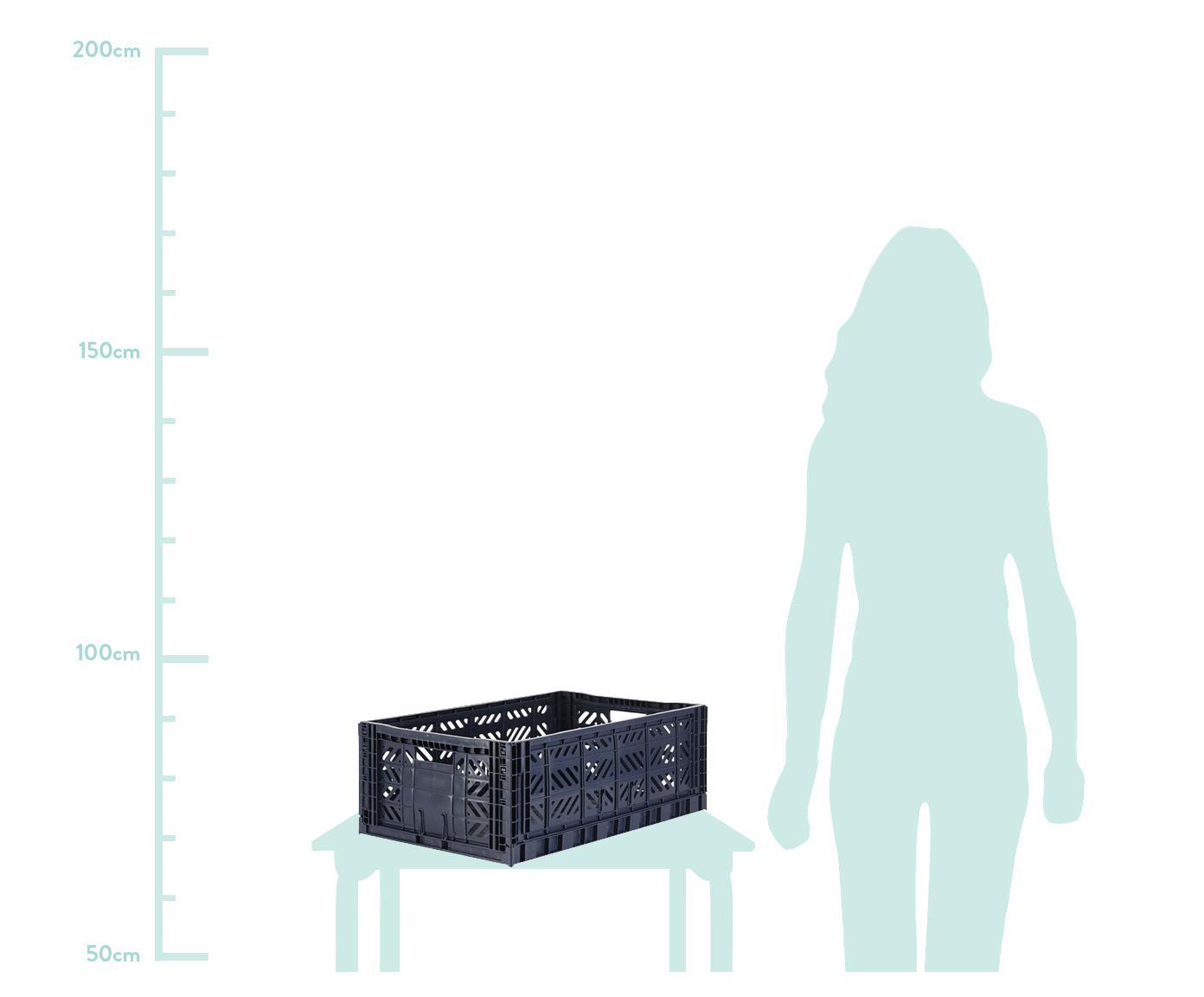 Klappkiste Navy, stapelbar, groß, Recycelter Kunststoff, Dunkelblau, 60 x 22 cm