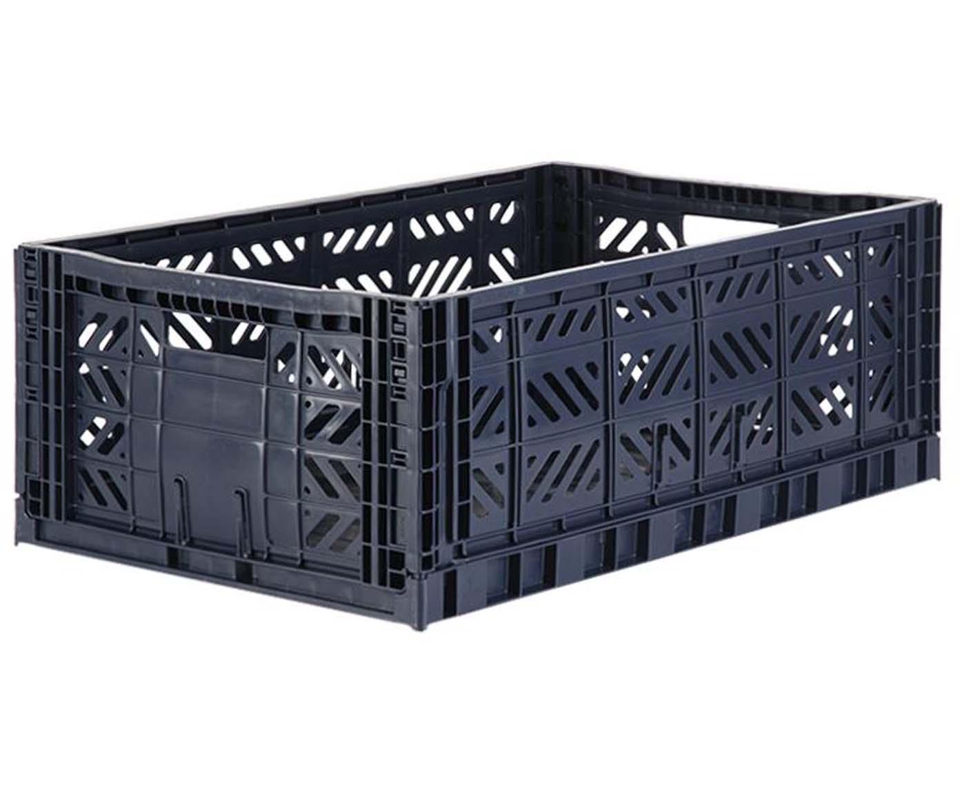 Caja pegable apilable Navy, grande, Plástico reciclado, Azul oscuro, An 60 x Al 22 cm