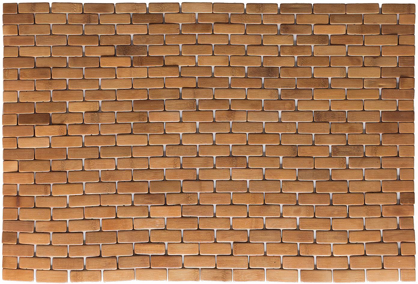 Badmat Mosaic van bamboehout, Bamboehout, Bamboehoutkleurig, 50 x 80 cm