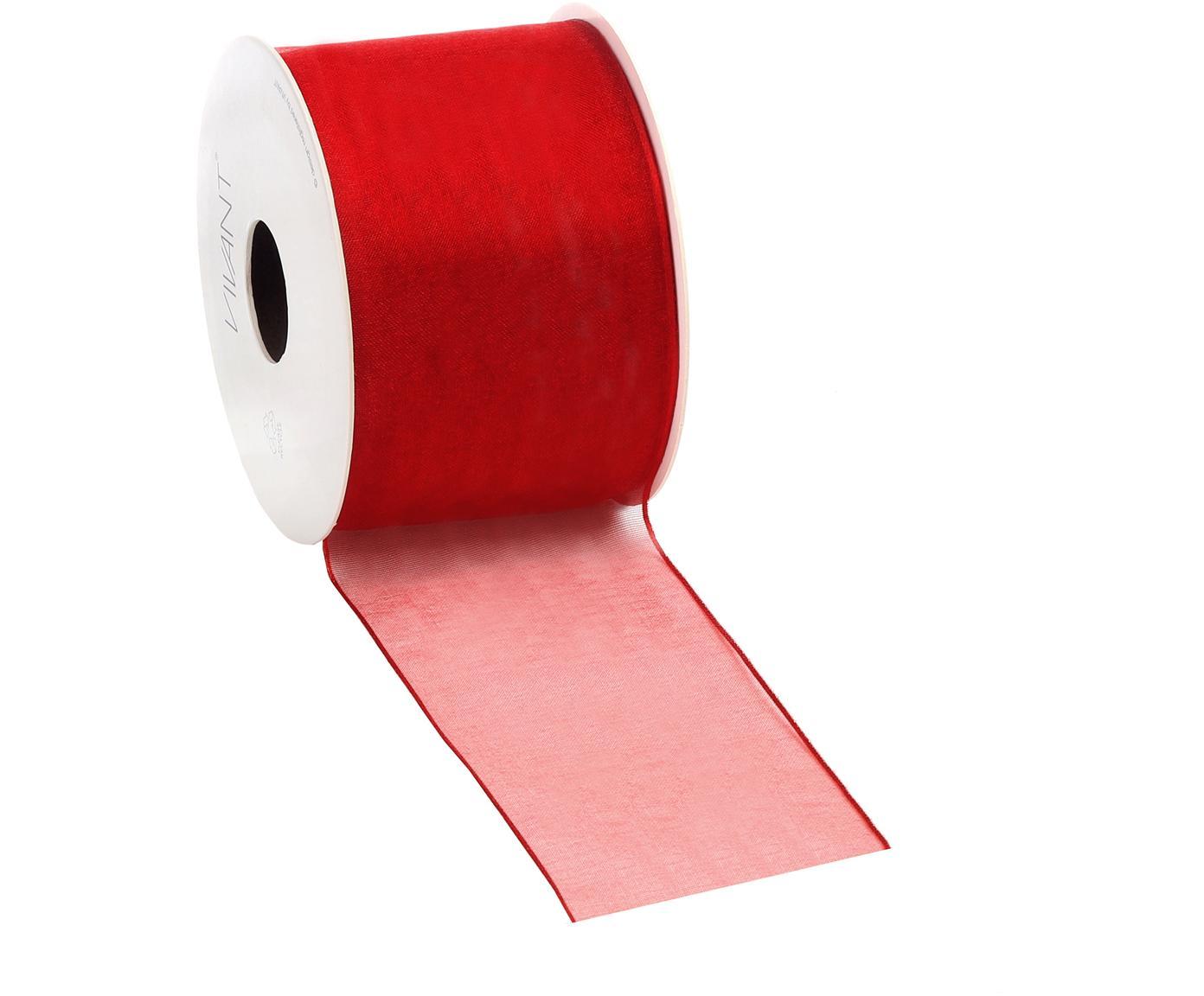 Nastro Anzo, 98% nylon, 2% filo, nichelato, Rosso, Larg. 7 x Lung. 2000 cm