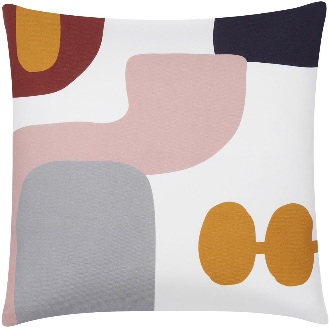 Kussenhoes Line met geometrische vormen, Weeftechniek: panama, Wit, multicolour, 40 x 40 cm