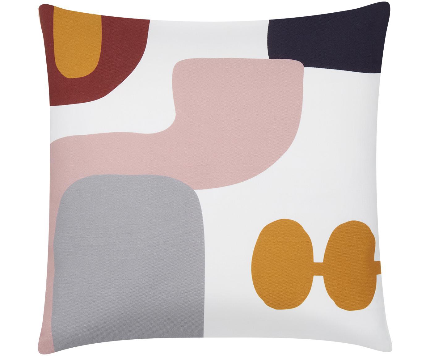Kissenhülle Line mit geometrischen Formen, Webart: Panama, Weiss, Mehrfarbig, 40 x 40 cm