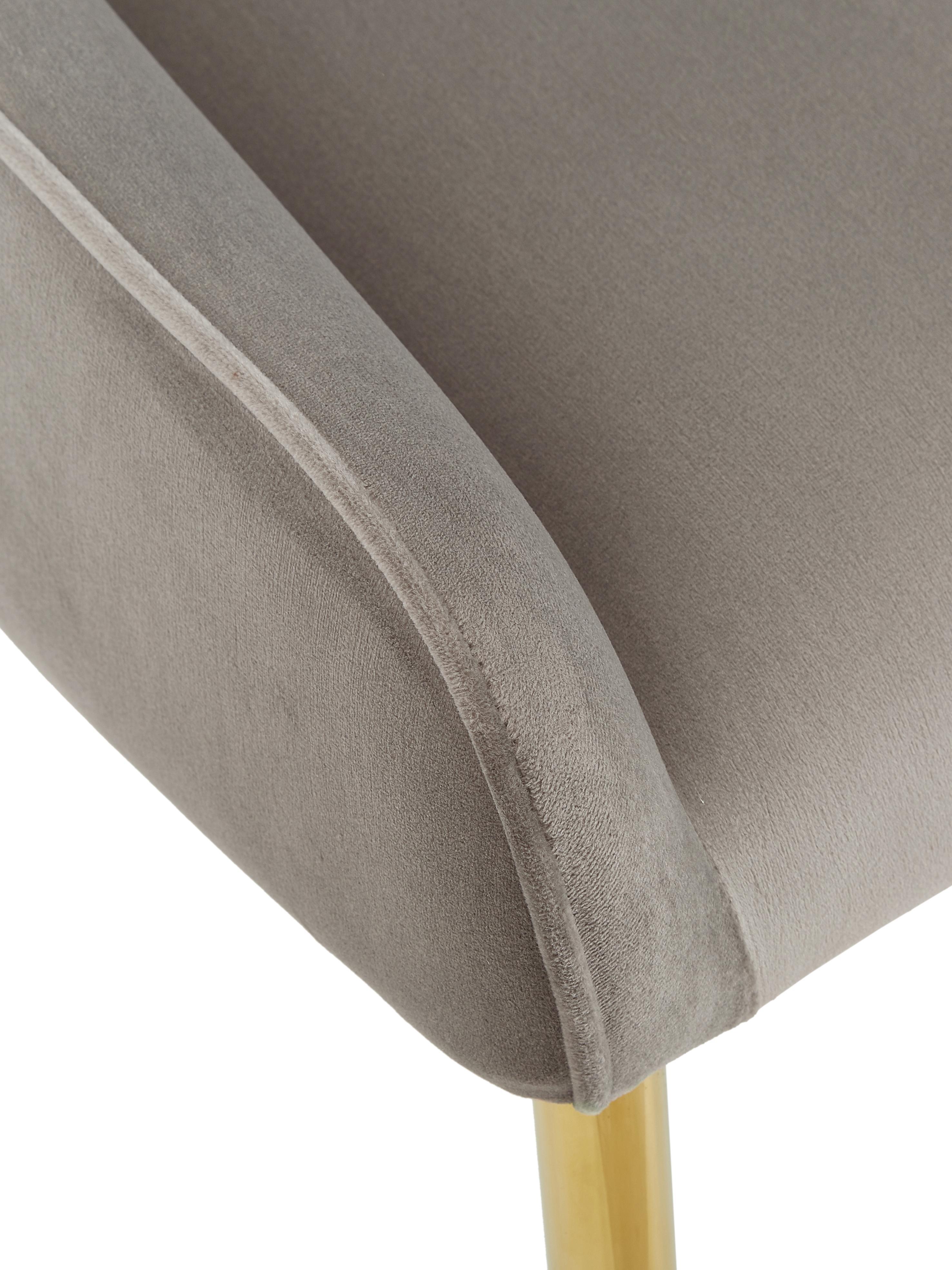 Sedia imbottita in velluto con gambe dorate Ava, Rivestimento: velluto (100% poliestere), Gambe: metallo zincato, Velluto taupe, Larg. 53 x Alt. 60 cm