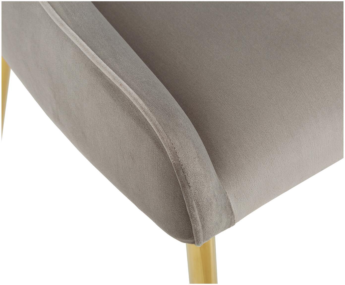 Fluweel gestoffeerde stoel Ava, Bekleding: fluweel (100% polyester), Poten: gegalvaniseerd metaal, Taupe, B 55  x D 60 cm