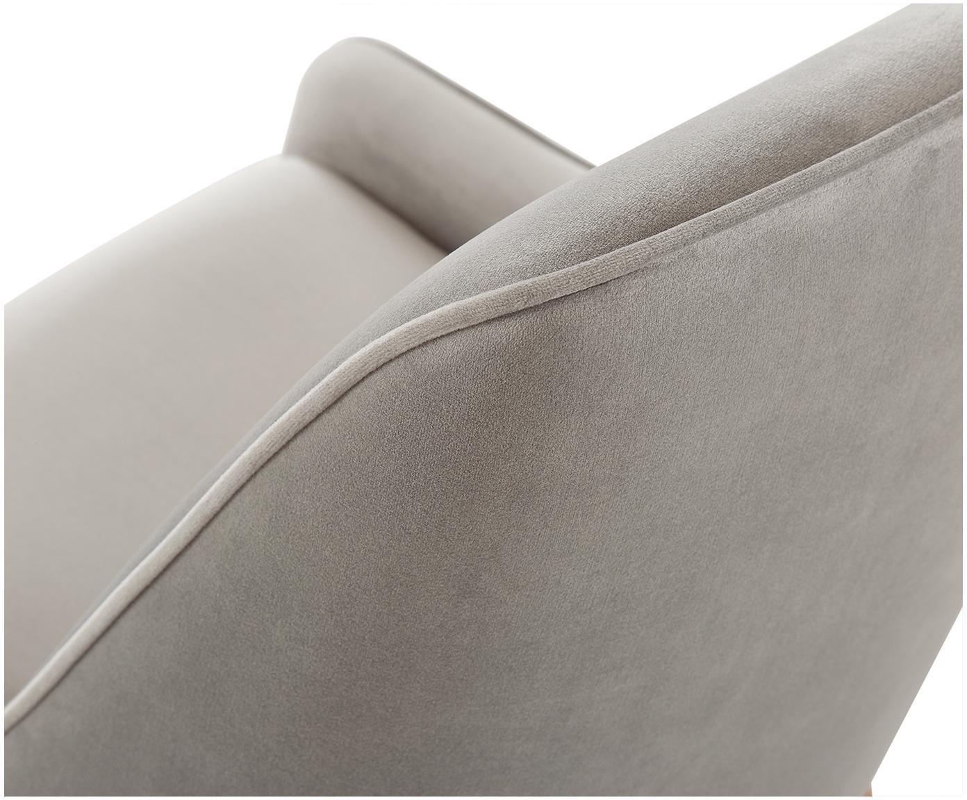 Krzesło tapicerowane z aksamitu Ava, Tapicerka: aksamit (100% poliester) , Nogi: metal galwanizowany, Aksamitny taupe, S 55 x G 60 cm