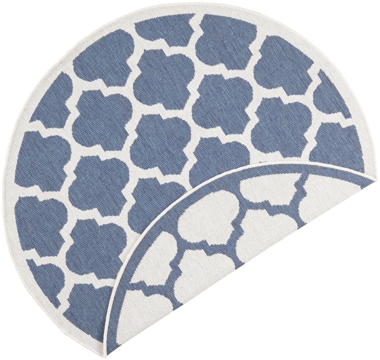Runder In- & Outdoor-Wendeteppich Palermo in Blau/Creme, Blau, Creme, Ø 140 cm (Grösse M)