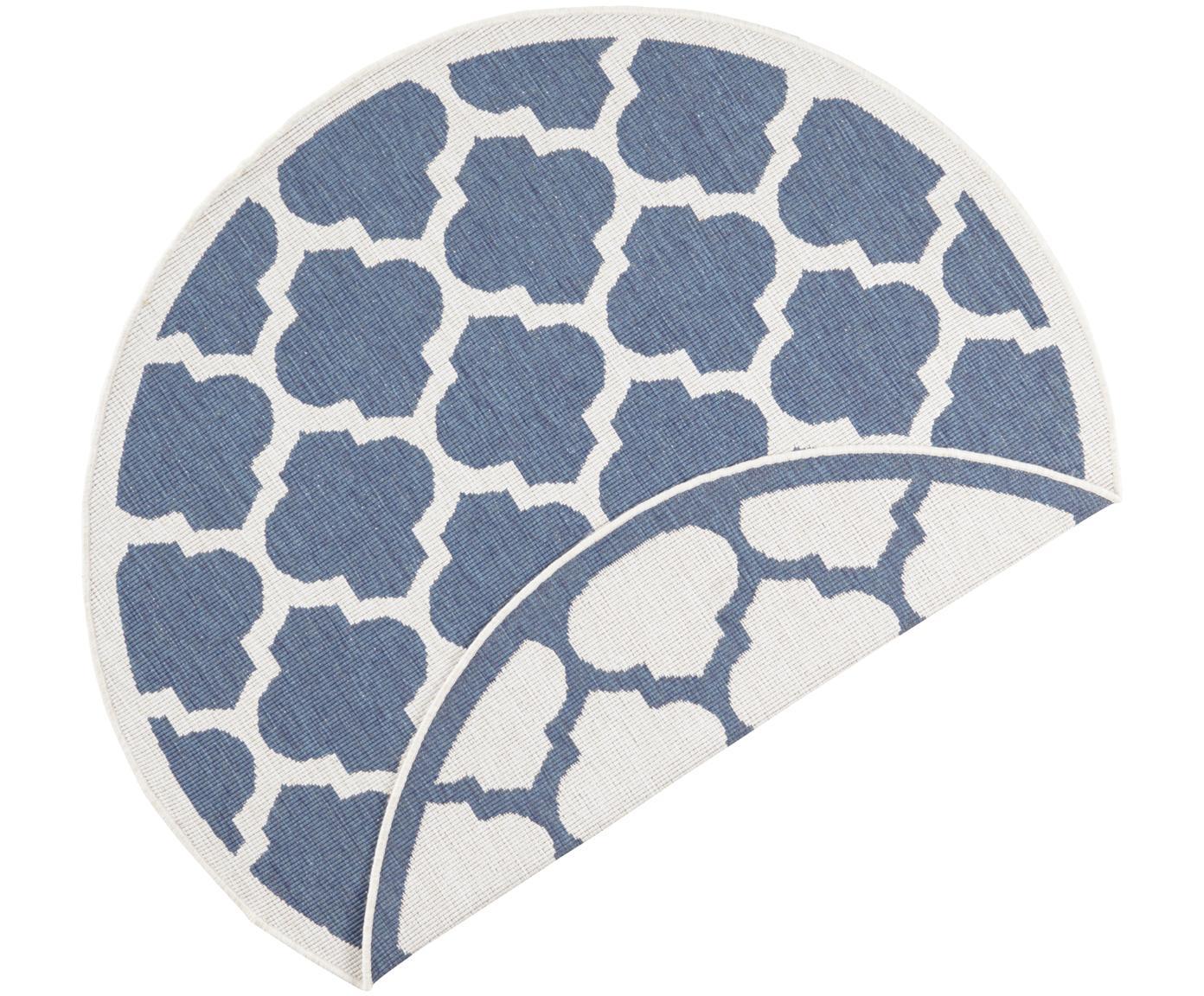 Okrągły dwustronny dywan wewnętrzny/zewnętrzny Palermo, Niebieski, kremowy, Ø 140 cm (Rozmiar M)