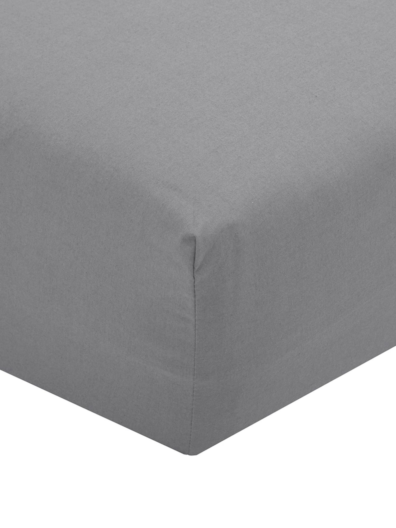Lenzuolo con angoli in percalle Elsie, Tessuto: percalle, Grigio scuro, Larg. 90 x Lung. 200 cm