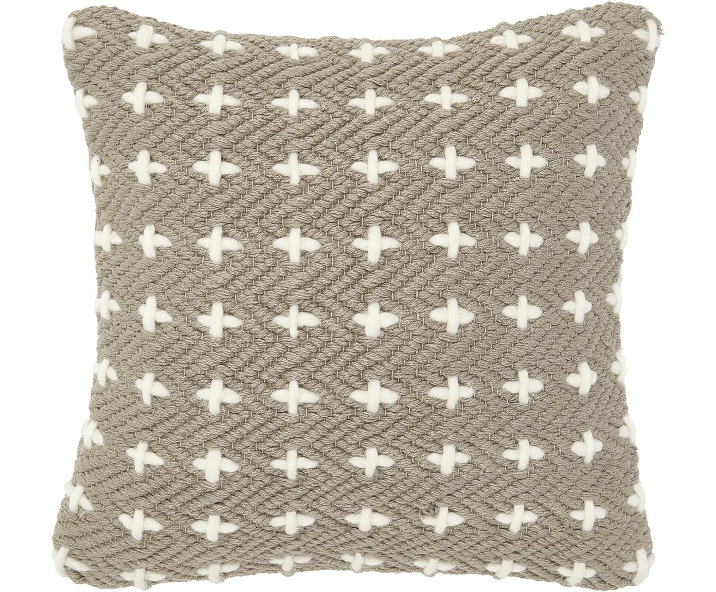 Kissenhülle Lina mit Verzierungen, 75% Baumwolle, 25% Wolle, Taupe, 40 x 40 cm