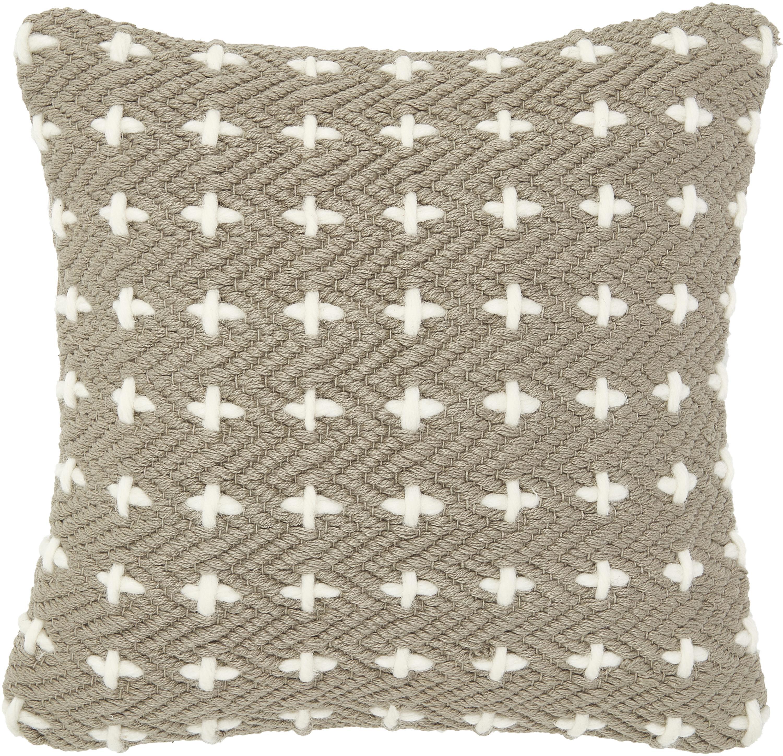 Federa arredo con decorazioni Lina, 75% cotone, 25% lana, Taupe, Larg. 40 x Lung. 40 cm
