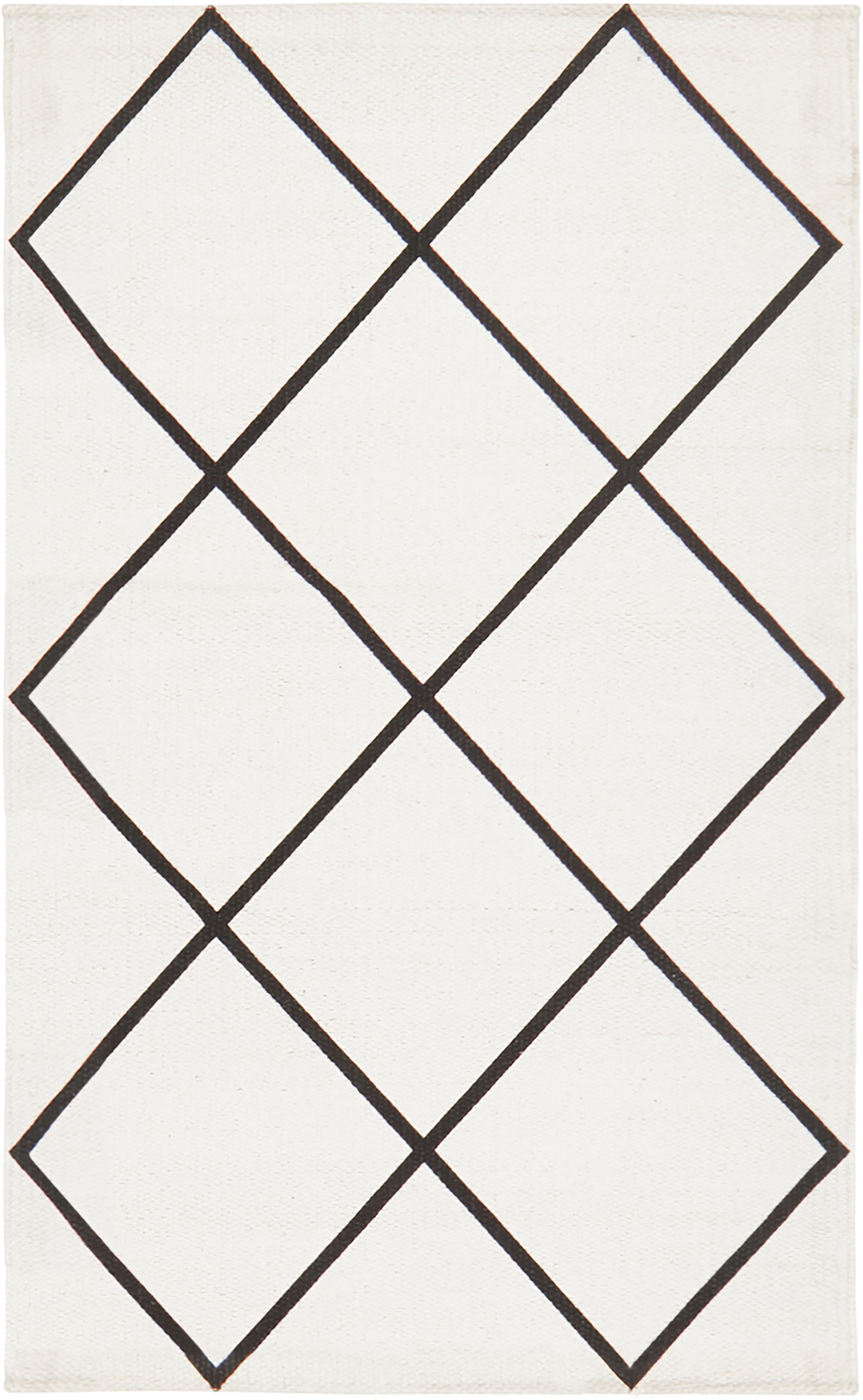 Vlak geweven katoenen vloerkleed Farah met ruitjesmotief, 100% katoen, Crèmewit, zwart, B 50 x L 80 cm (maat XXS)
