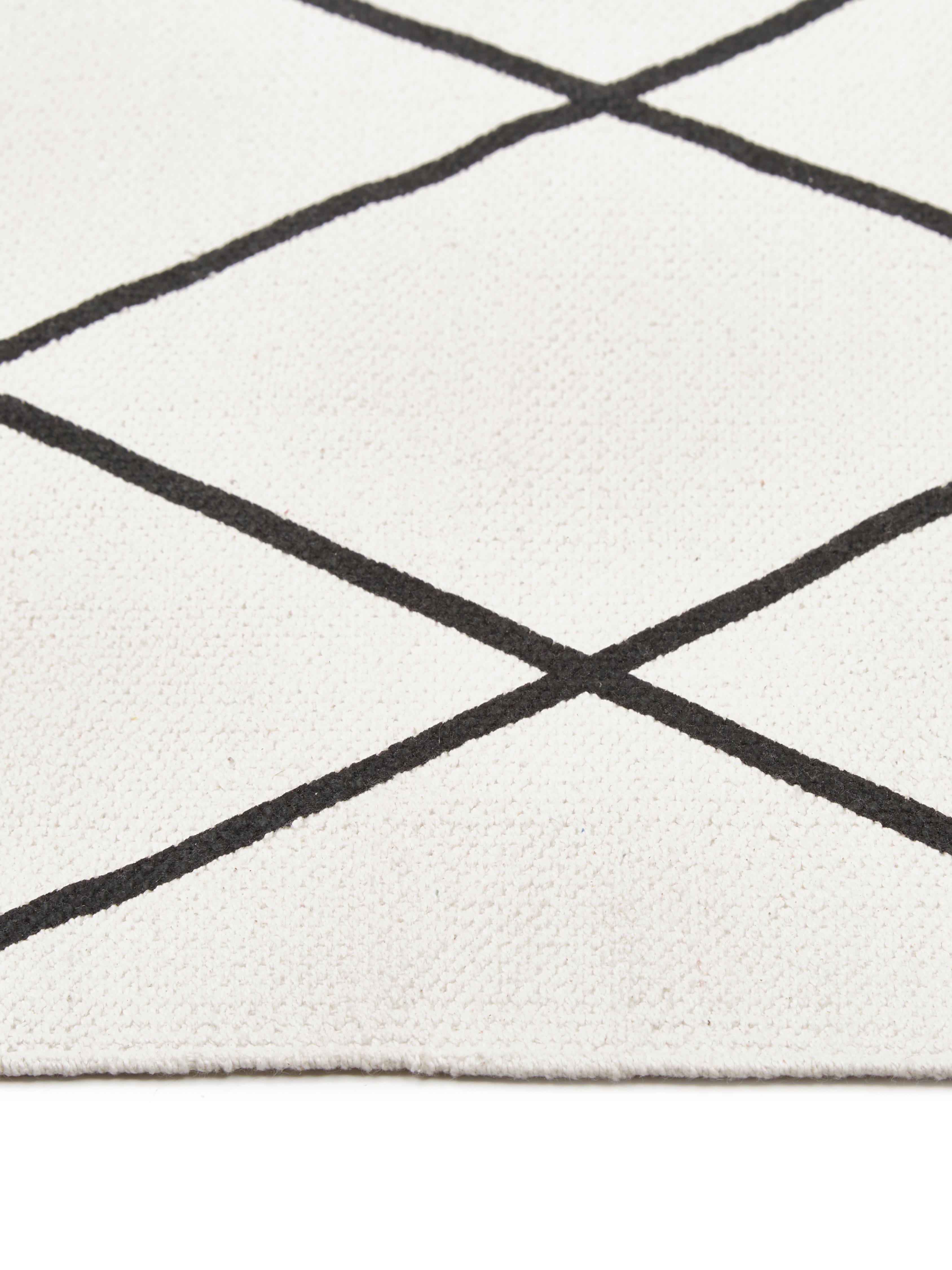 Dywan z bawełny Farah, 100% bawełna, Kremowobiały, czarny, S 70 x D 140 cm (Rozmiar XS)
